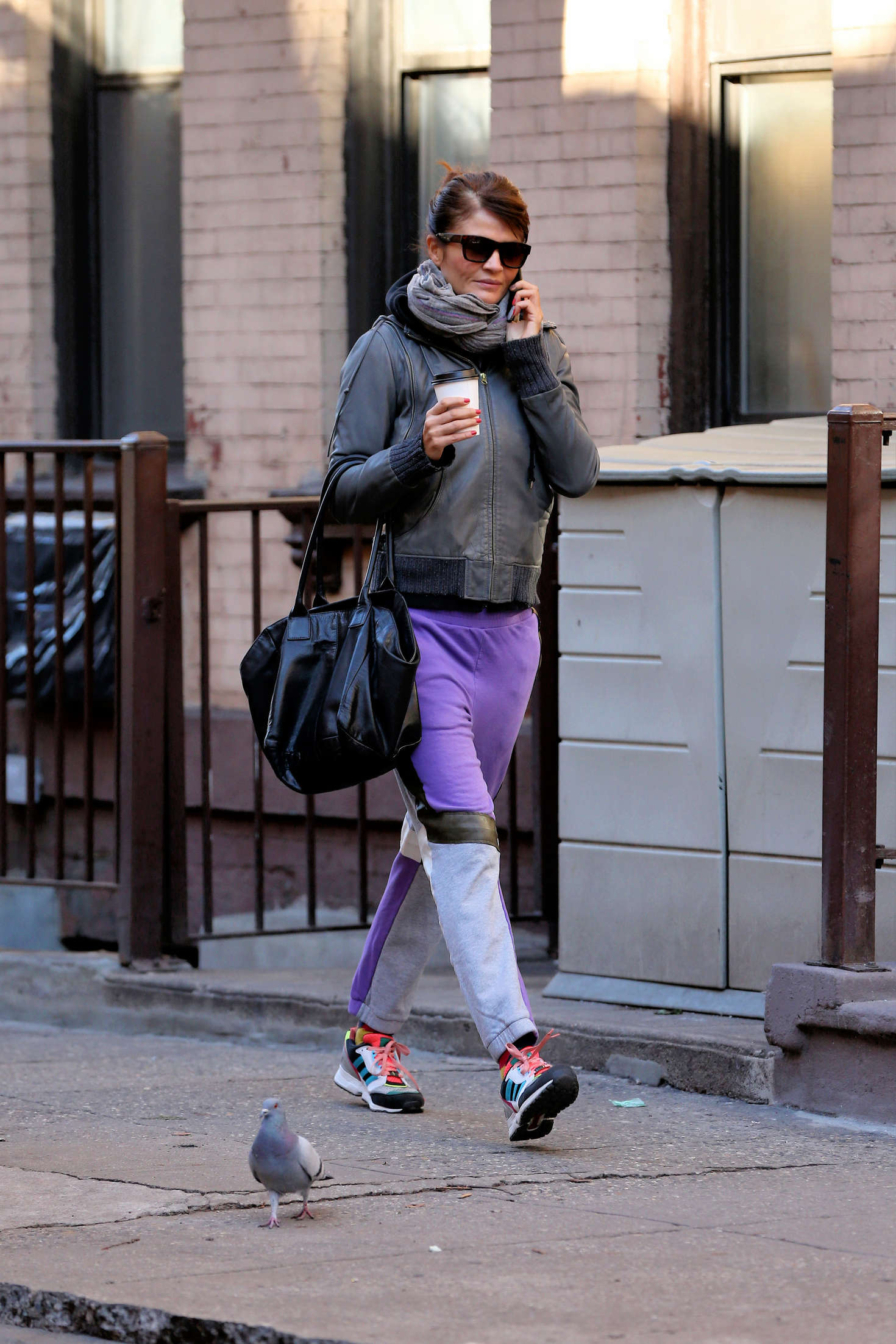 Helena Christensen walks to the gym in New York City