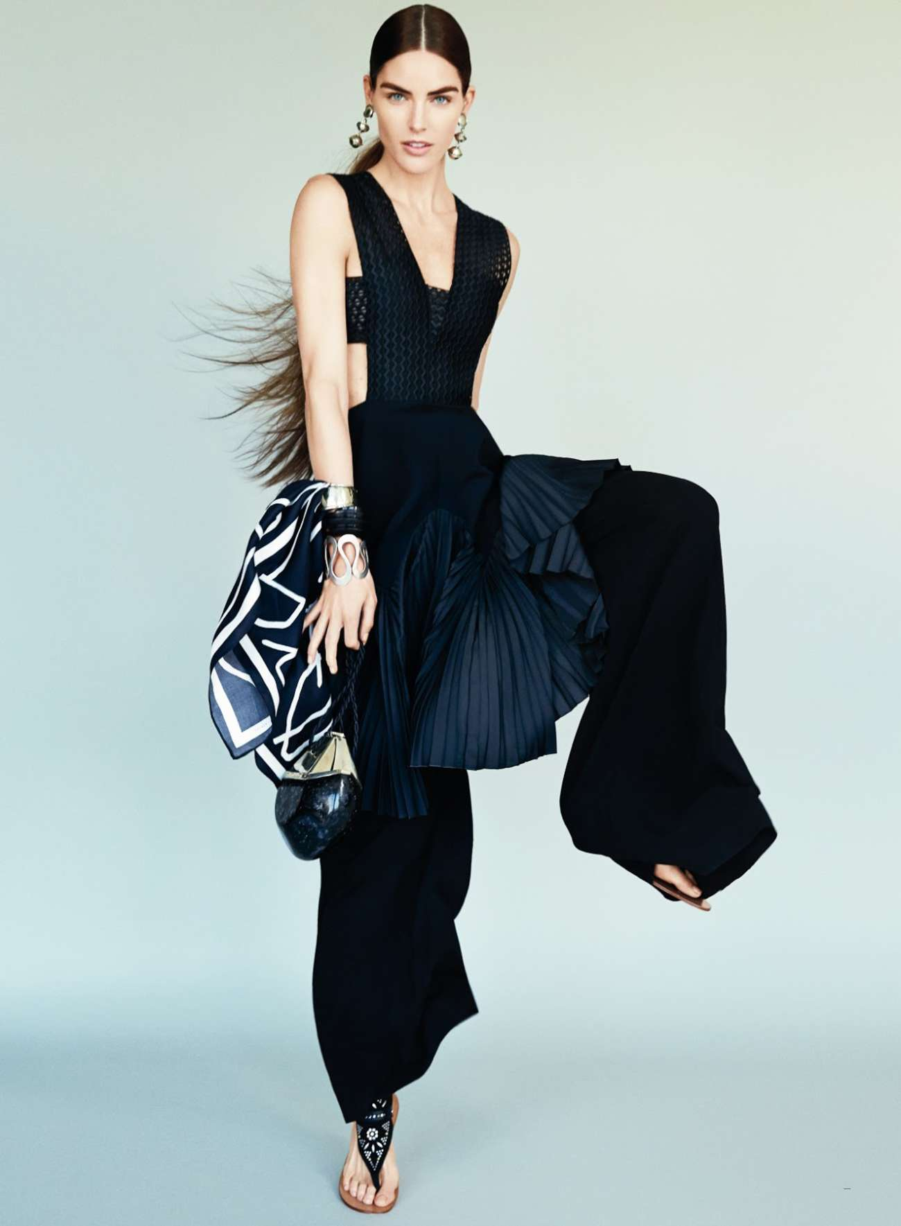 Hilary Rhoda 'Black White Chic all over' Photoshoot for Glamour Magazine US