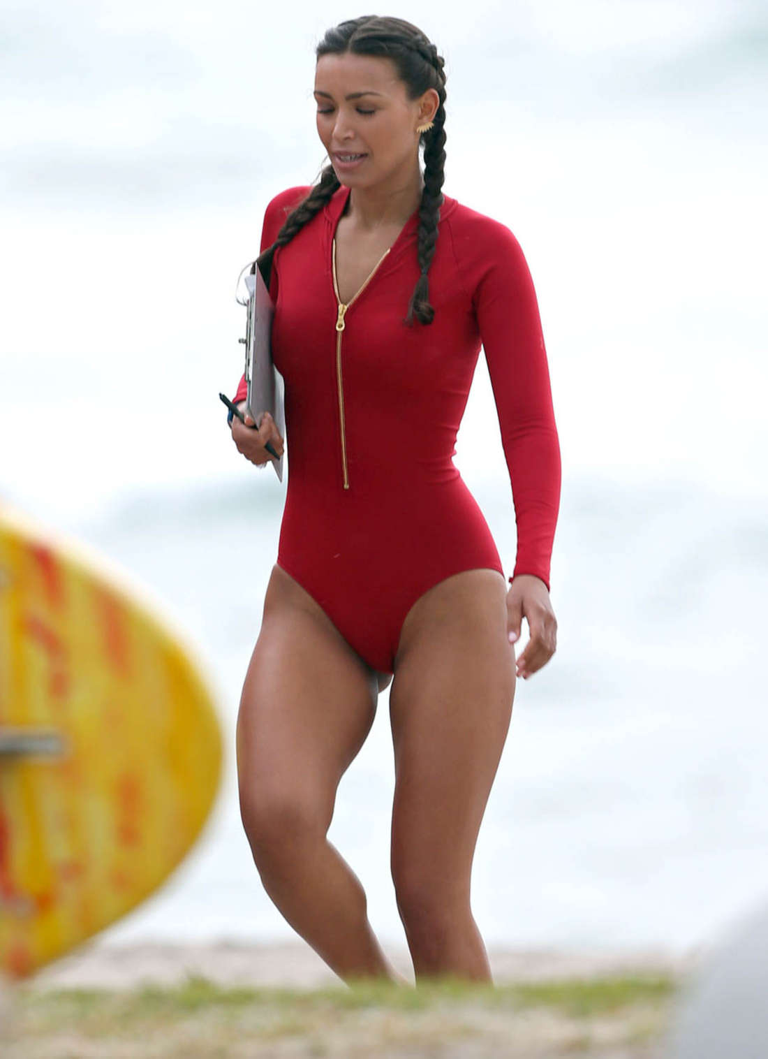 Ilfenesh Hadera on the set of Baywatch in Deerfield Beach