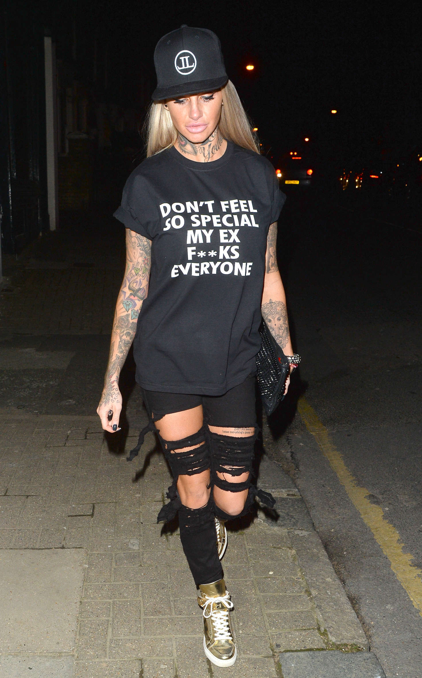 Jemma Lucy in Ripped Jeans Leaves HDO South Woodford in London