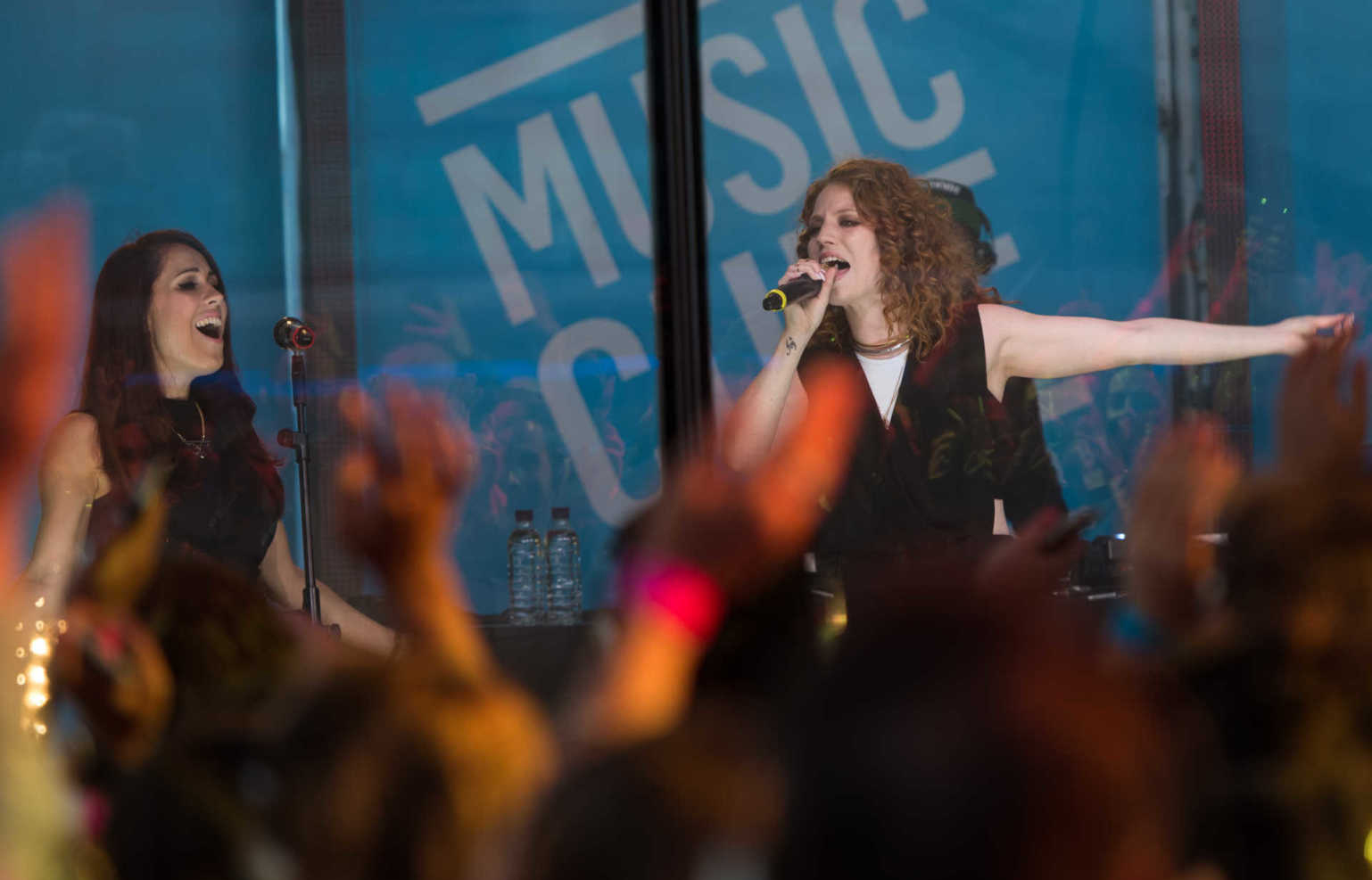 Jess Glynne Performs on stage during a launch for MUSIC CUBE in London