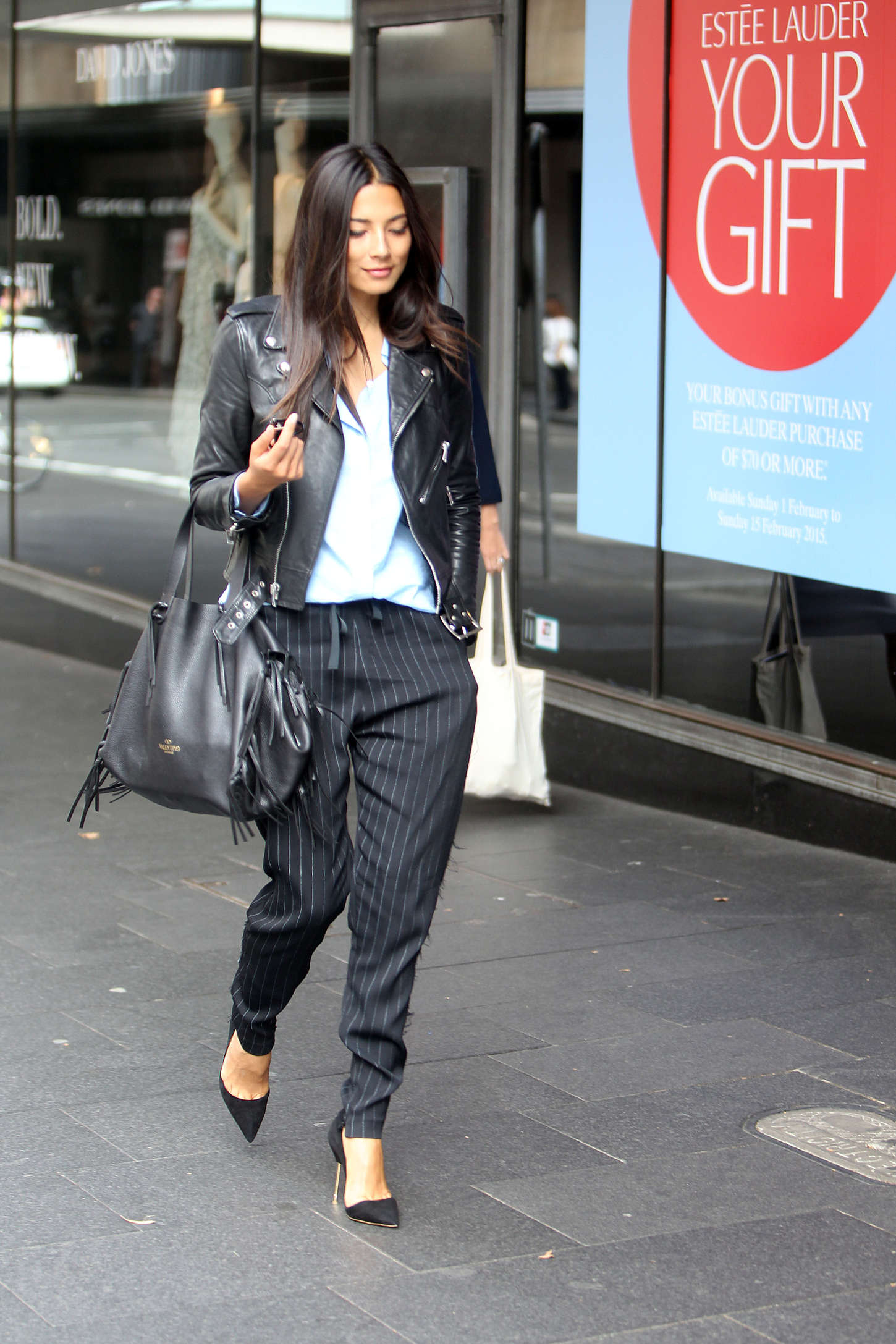 Jessica Gomes Arriving at the David Jones Store in Sydney