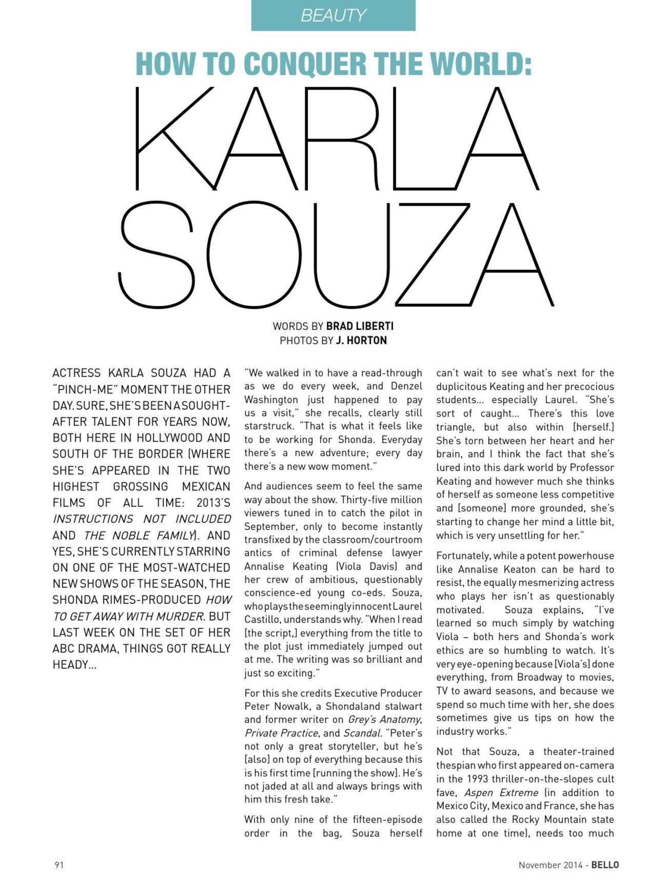 Karla Souza BELLO Magazine
