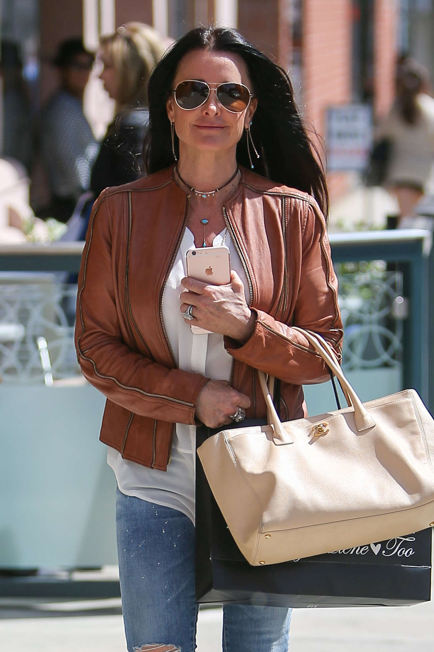 Kyle Richards in a brown leather jacket out in Beverly Hills