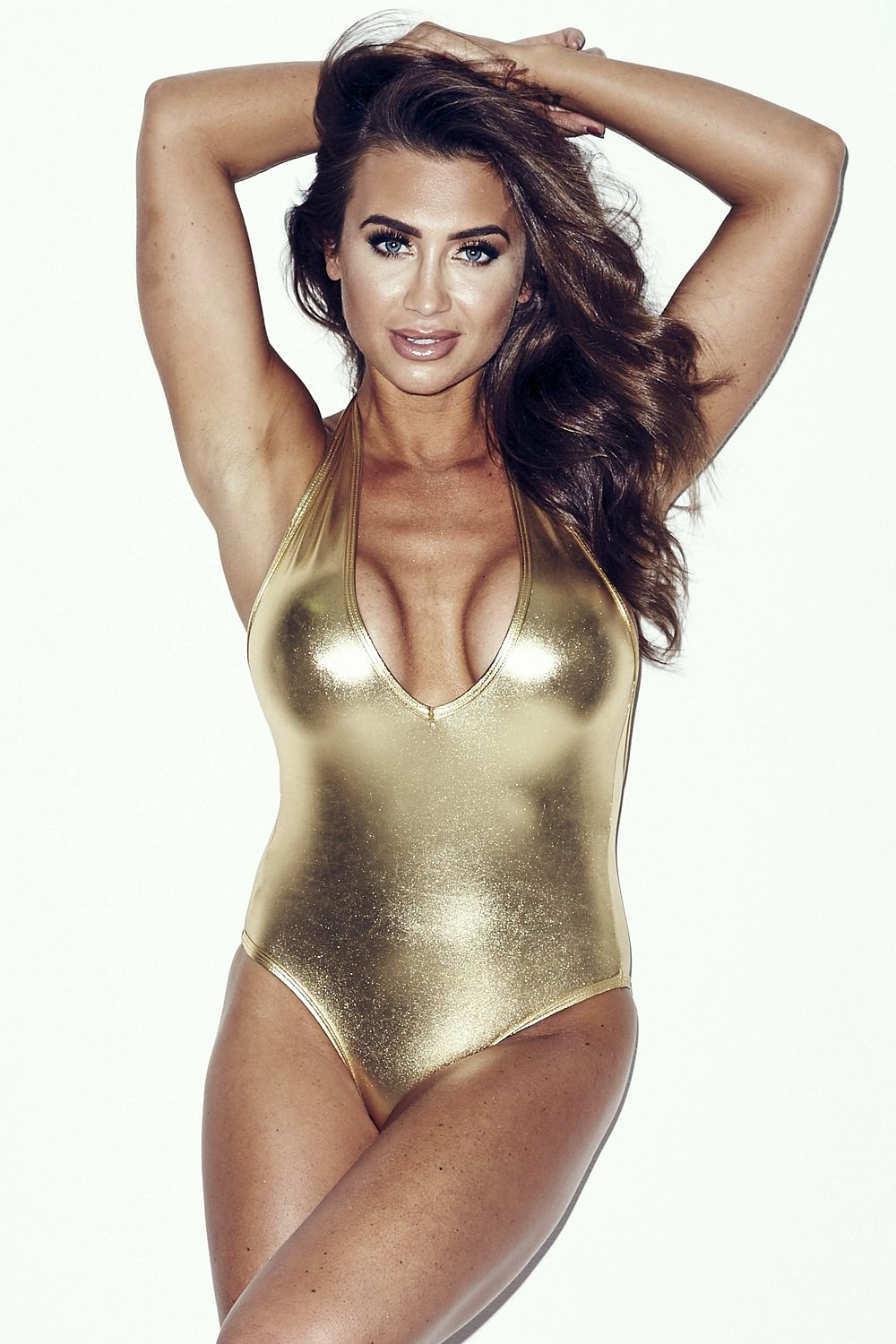 Lauren Goodger in a Gold Swimsuit Shoot