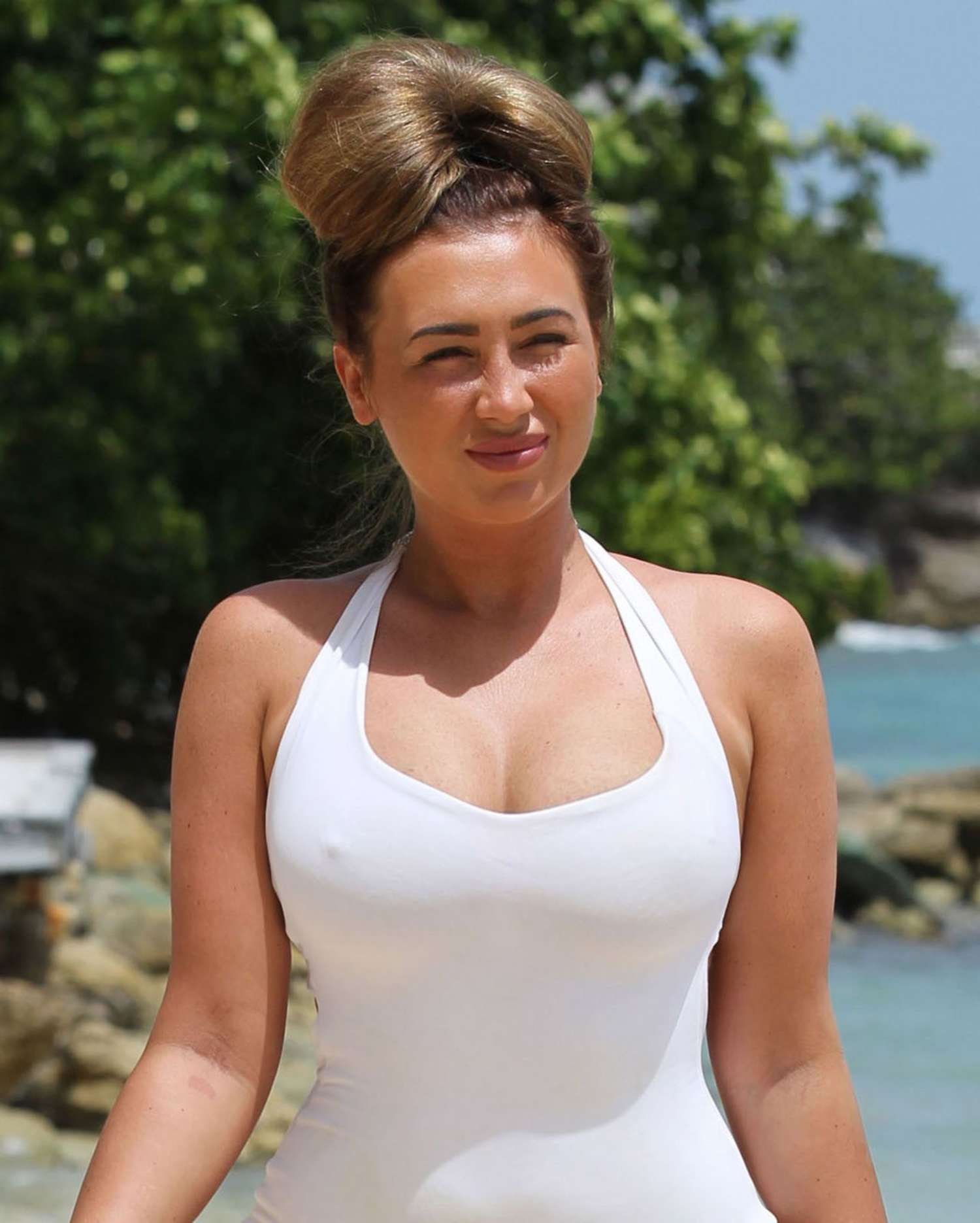 Lauren Goodger White Swimsuit Candids on Malibu Beach