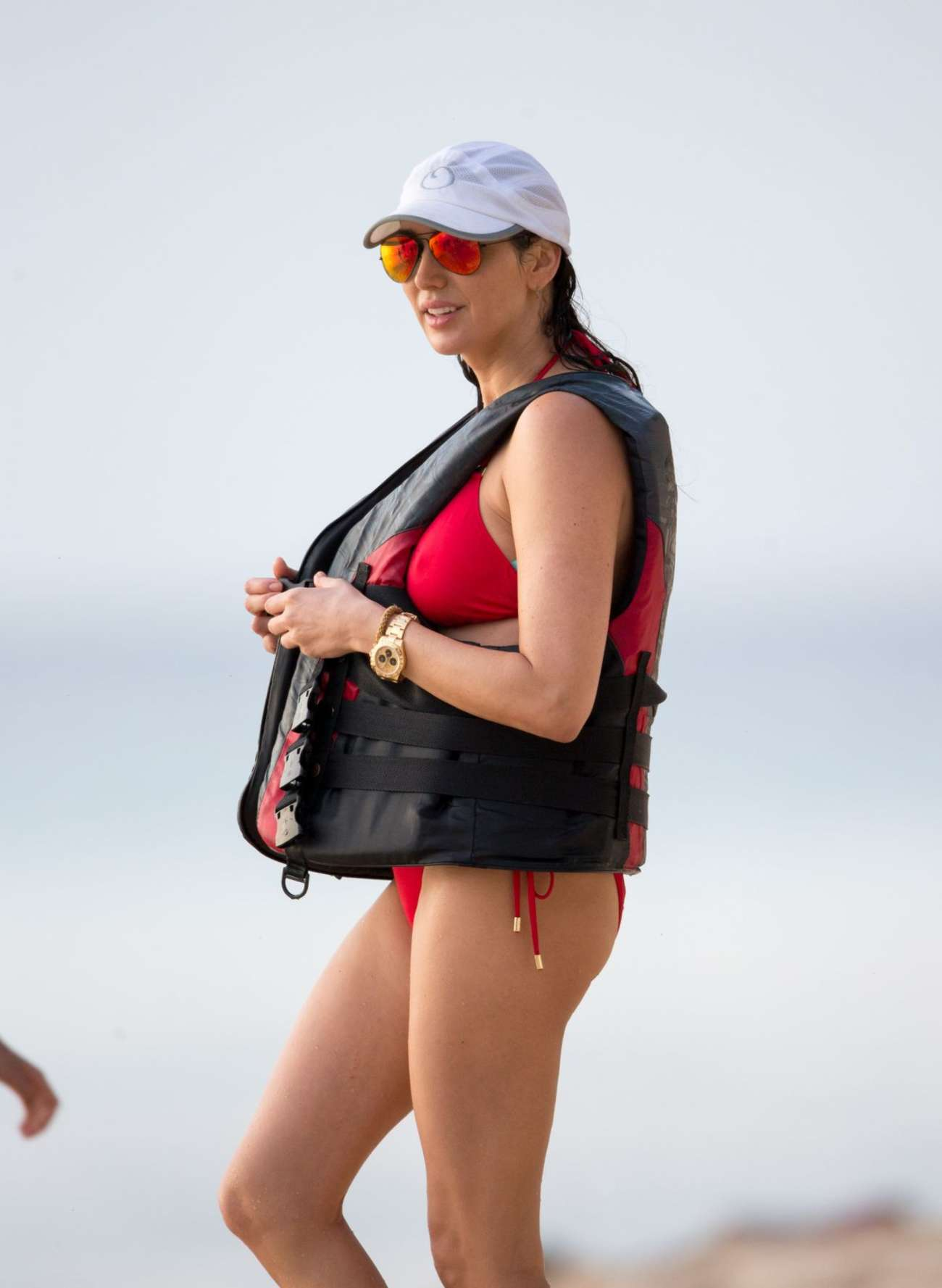 Lauren Silverman in Red Bikini on Jet-skiing in Barbados