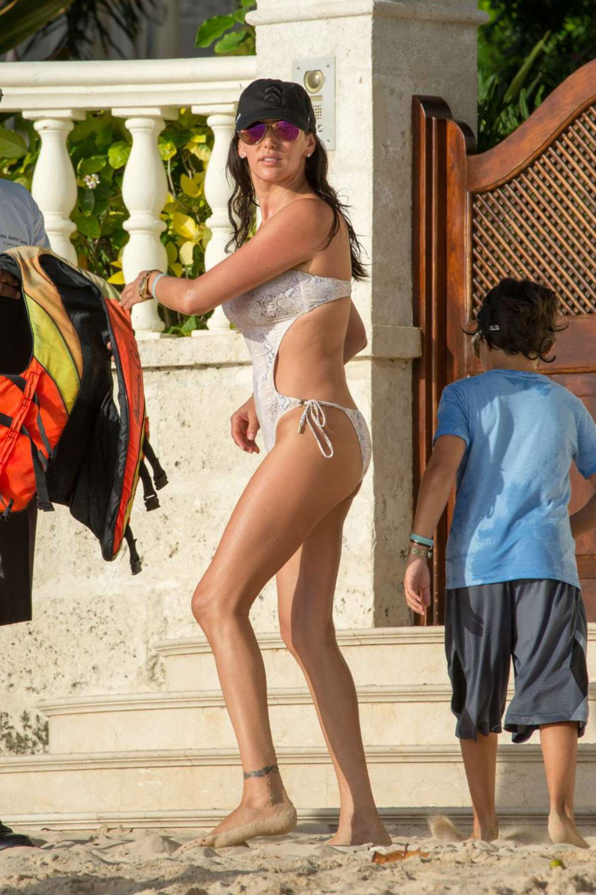 Lauren Silverman Wearing Swimsuit on the Beach in Barbados