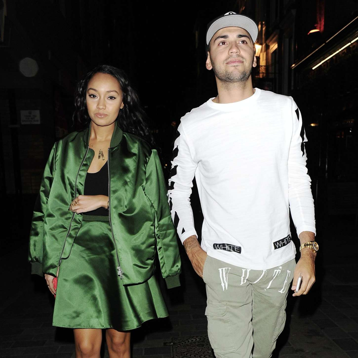 Leigh-Anne Pinnock Leaving Jinjuu Restaurant with her boyfriend in London