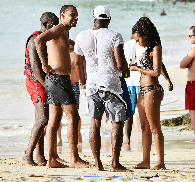 Leigh-Anne Pinnock on the beach in Barbados