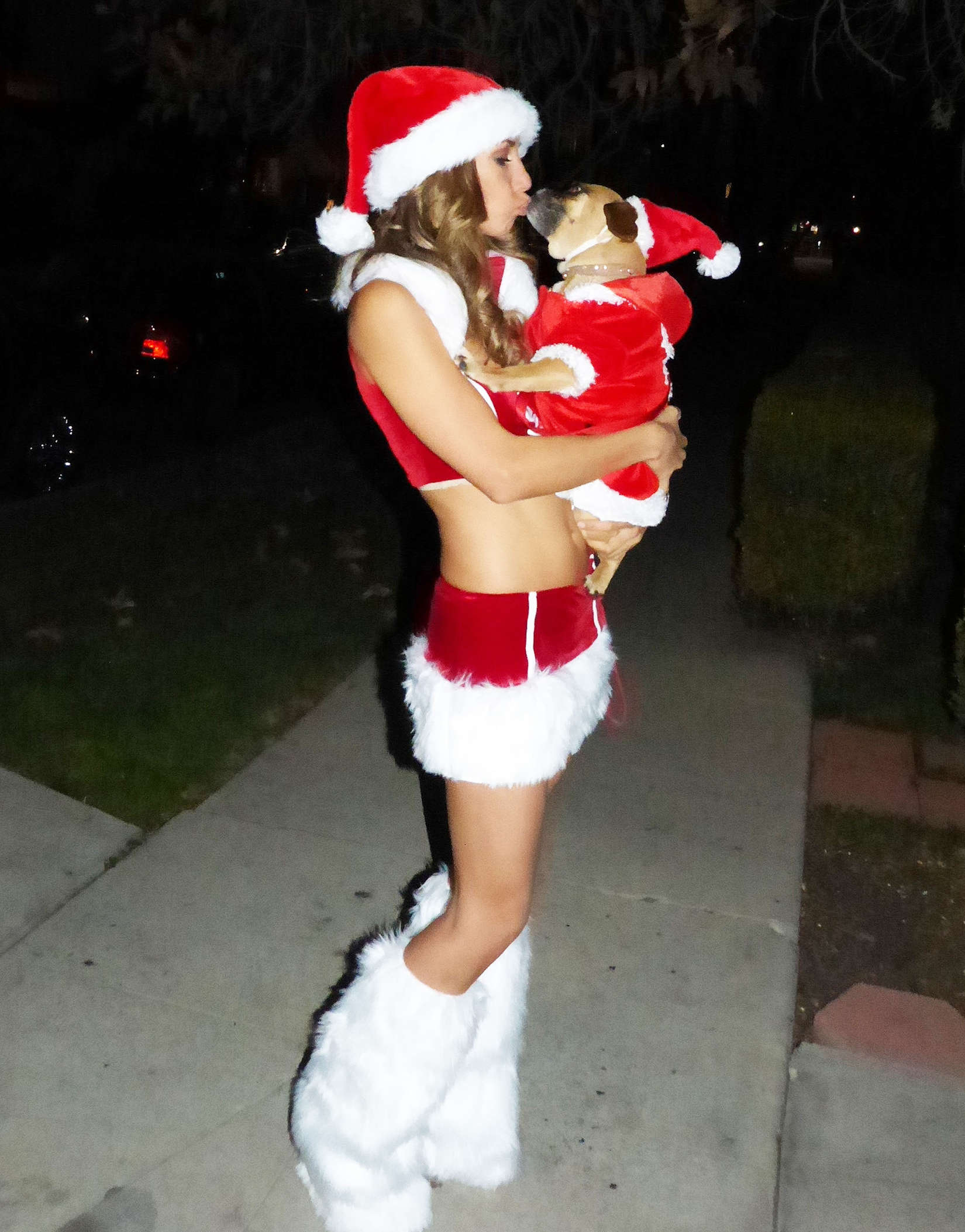 Leilani Dowding in a Santa Outfit in Los Angeles