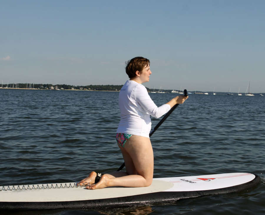 Lena Dunham Wearing Bikini at Paddle For Pink Event in Sag Harbor