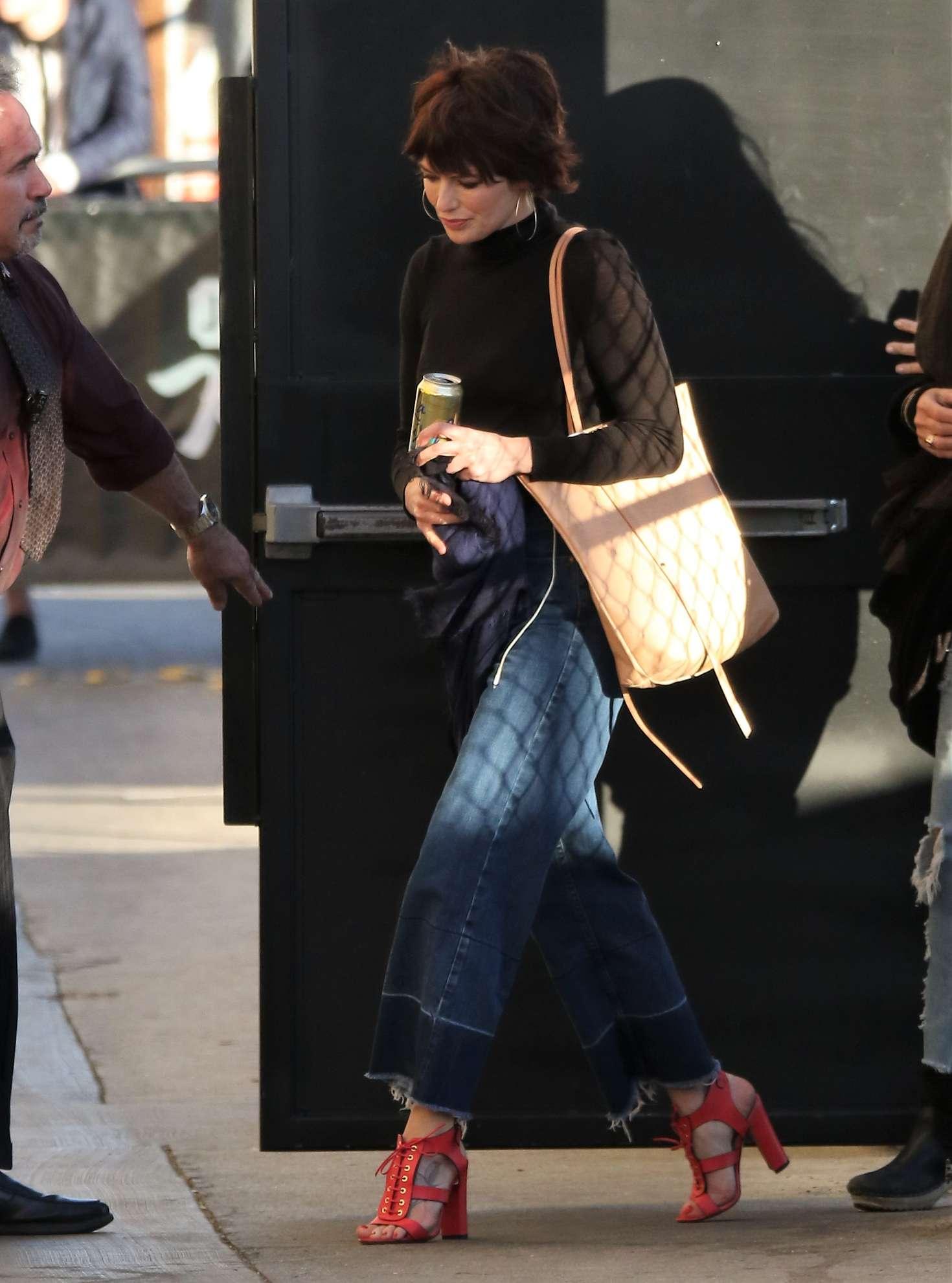 Lena Headey Arriving at Jimmy Kimmel Live in Los Angeles