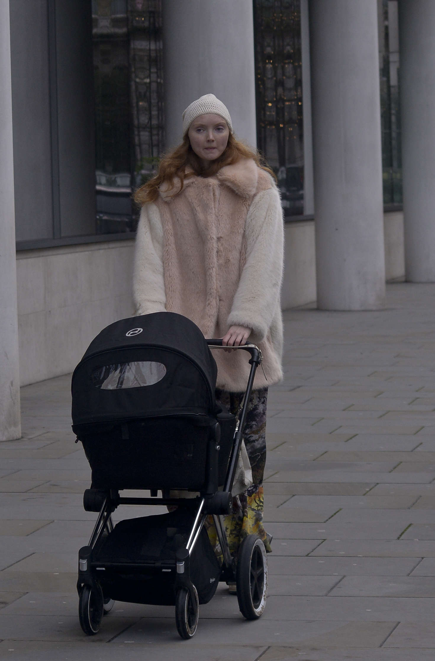 Lily Cole Walking her new baby in London