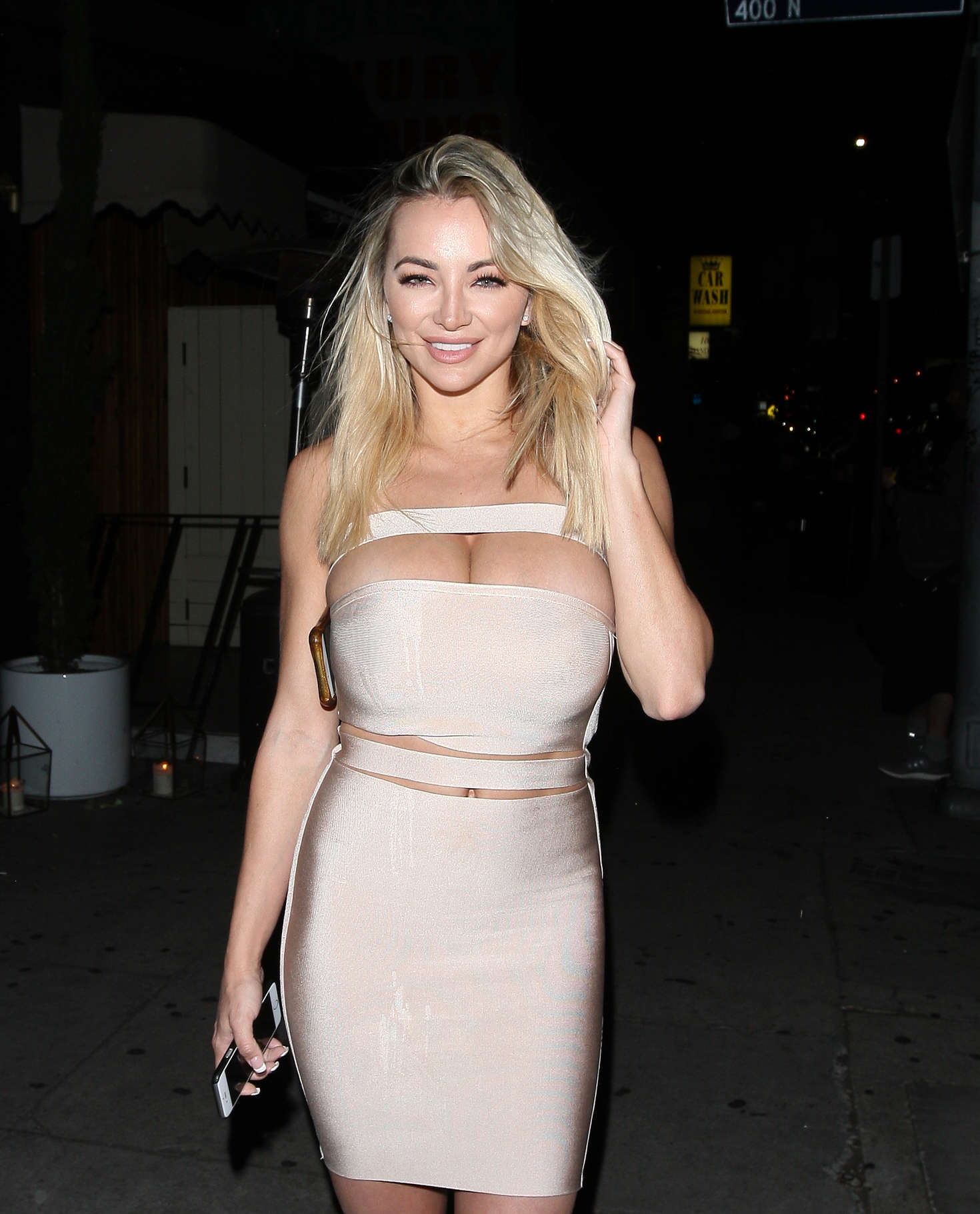 Lindsey Pelas in Tight Dress at Nice Guy Club in West Hollywood