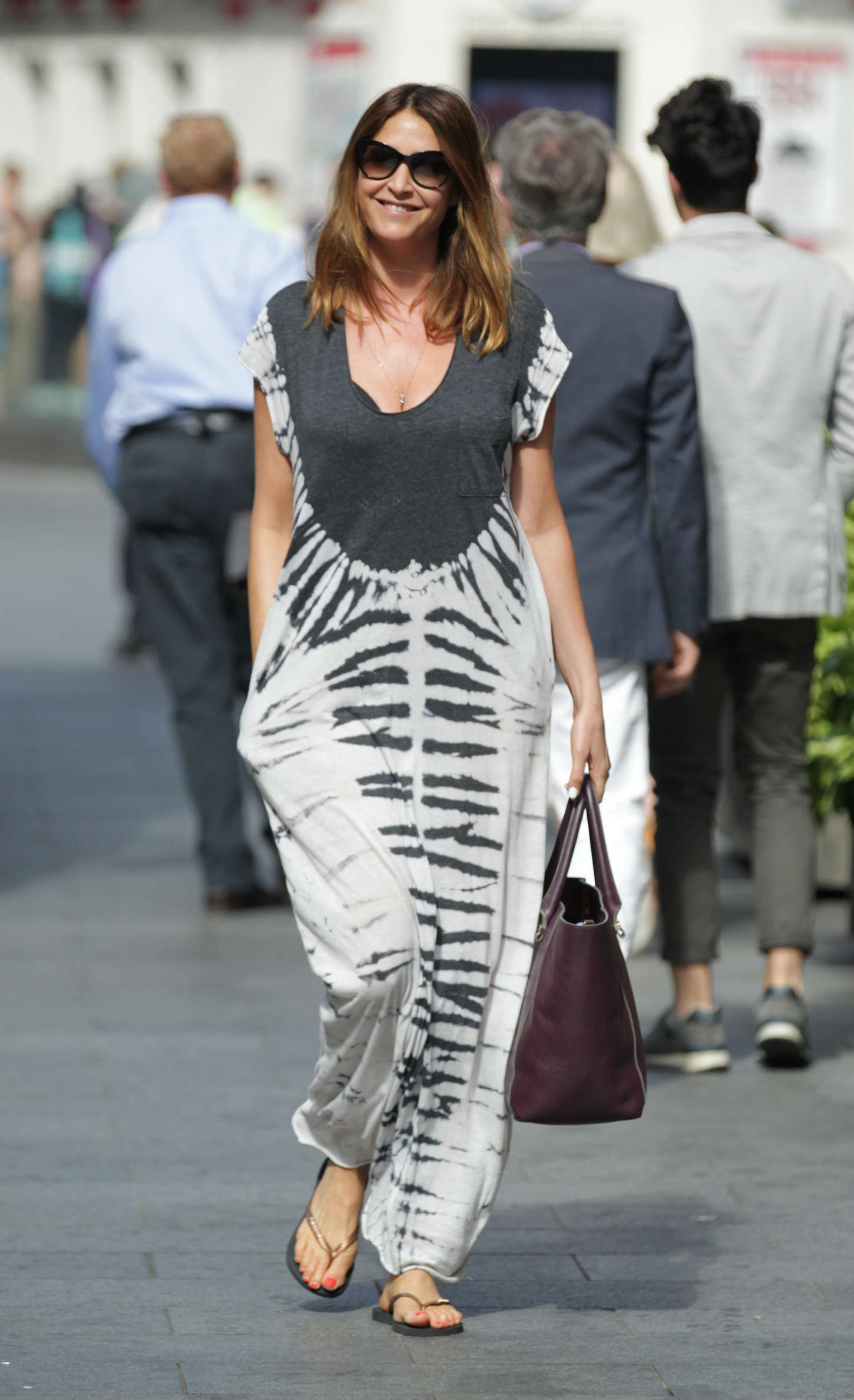 Lisa Snowdon in Long Dress out in London