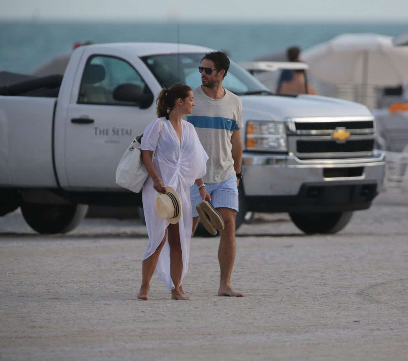 Louise Redknapp Beach Candids in Miami