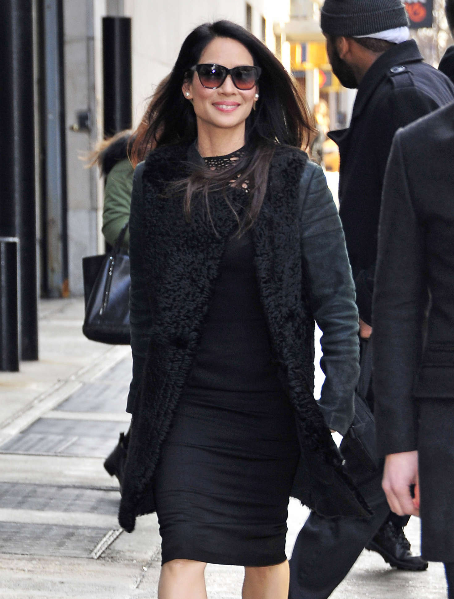 Lucy Liu in Black Dress out in New York City