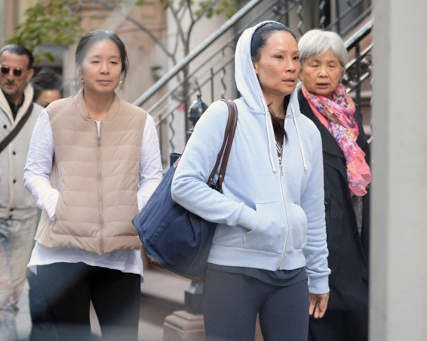 Lucy Liu in Leggings out in New York