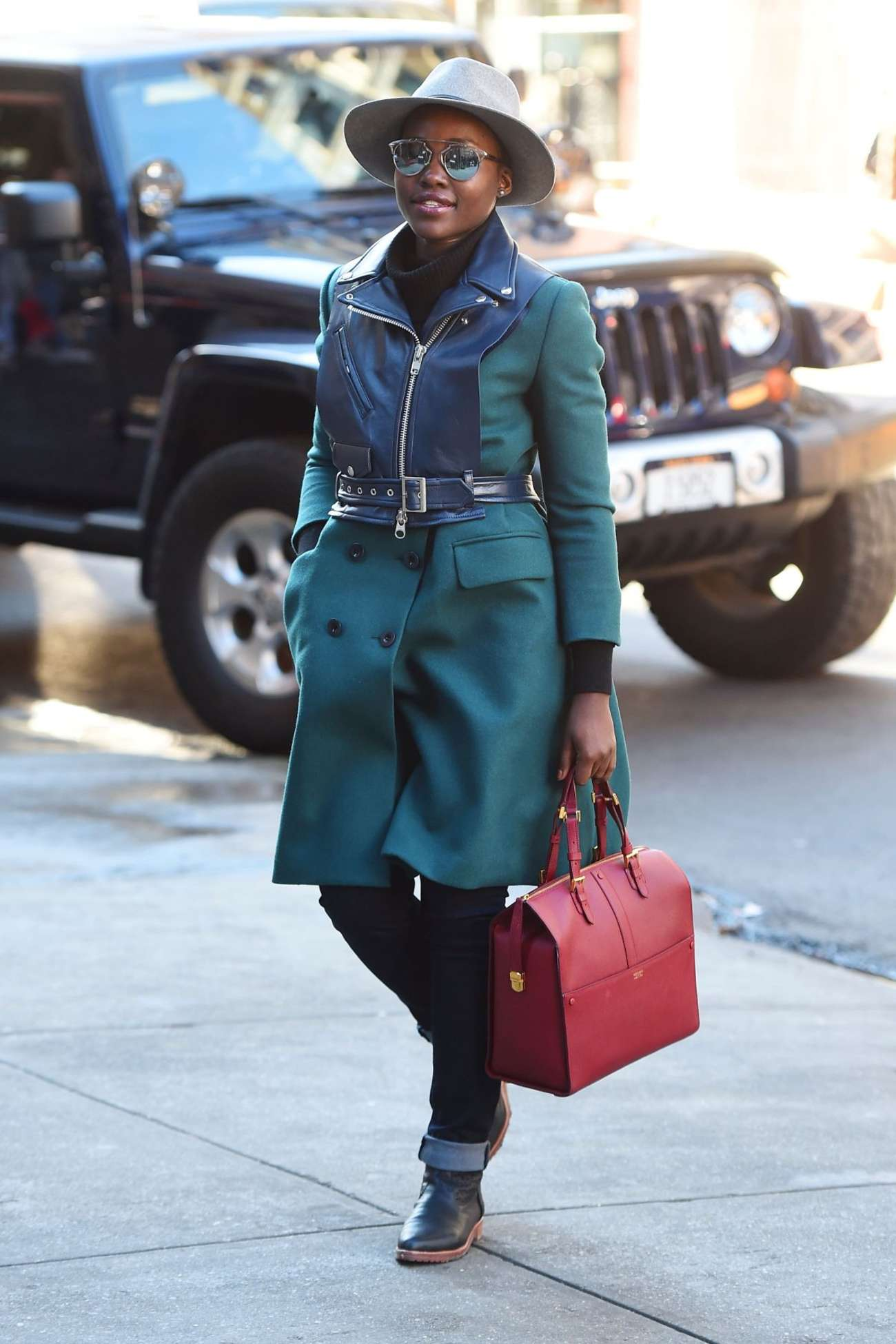 Lupita Nyongo Arriving at the Publich Theatre in New York