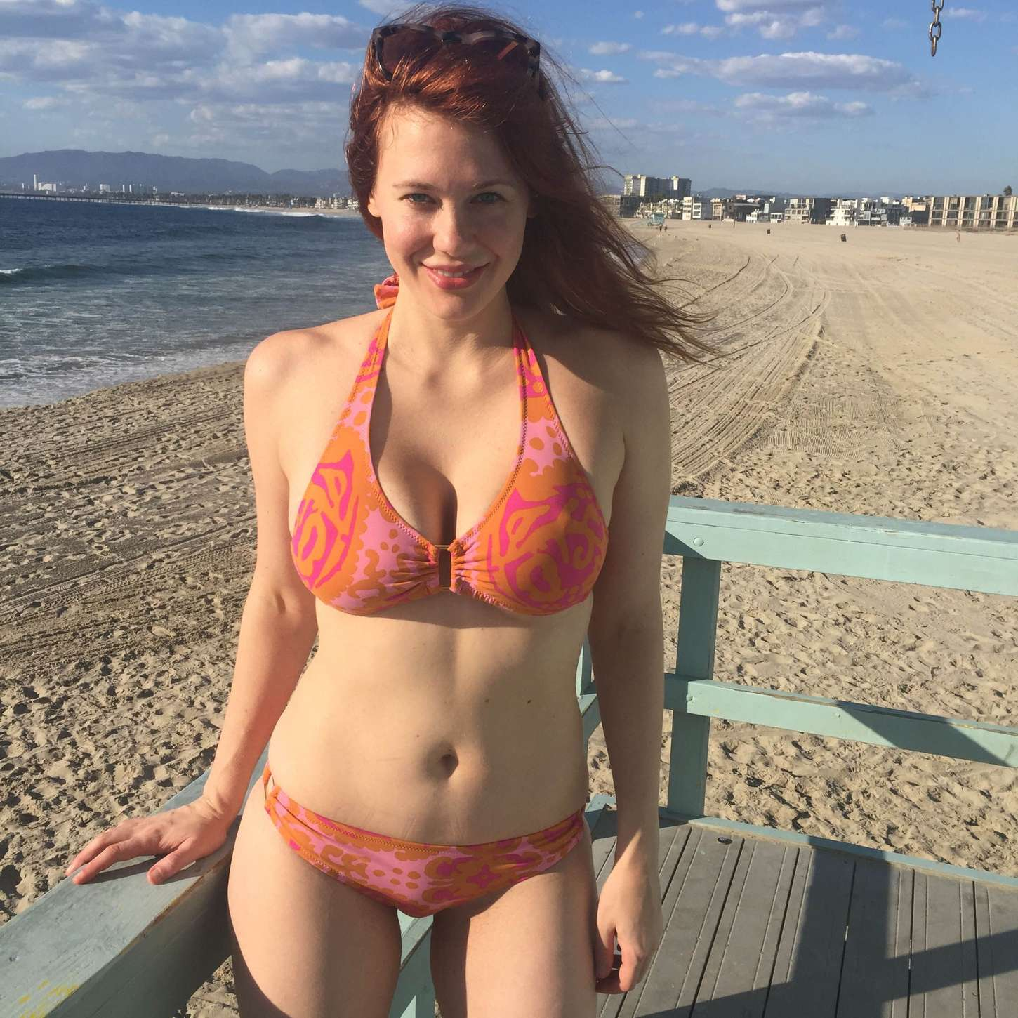 Maitland Ward Wearing a bikini at a beach in Marina Del Rey