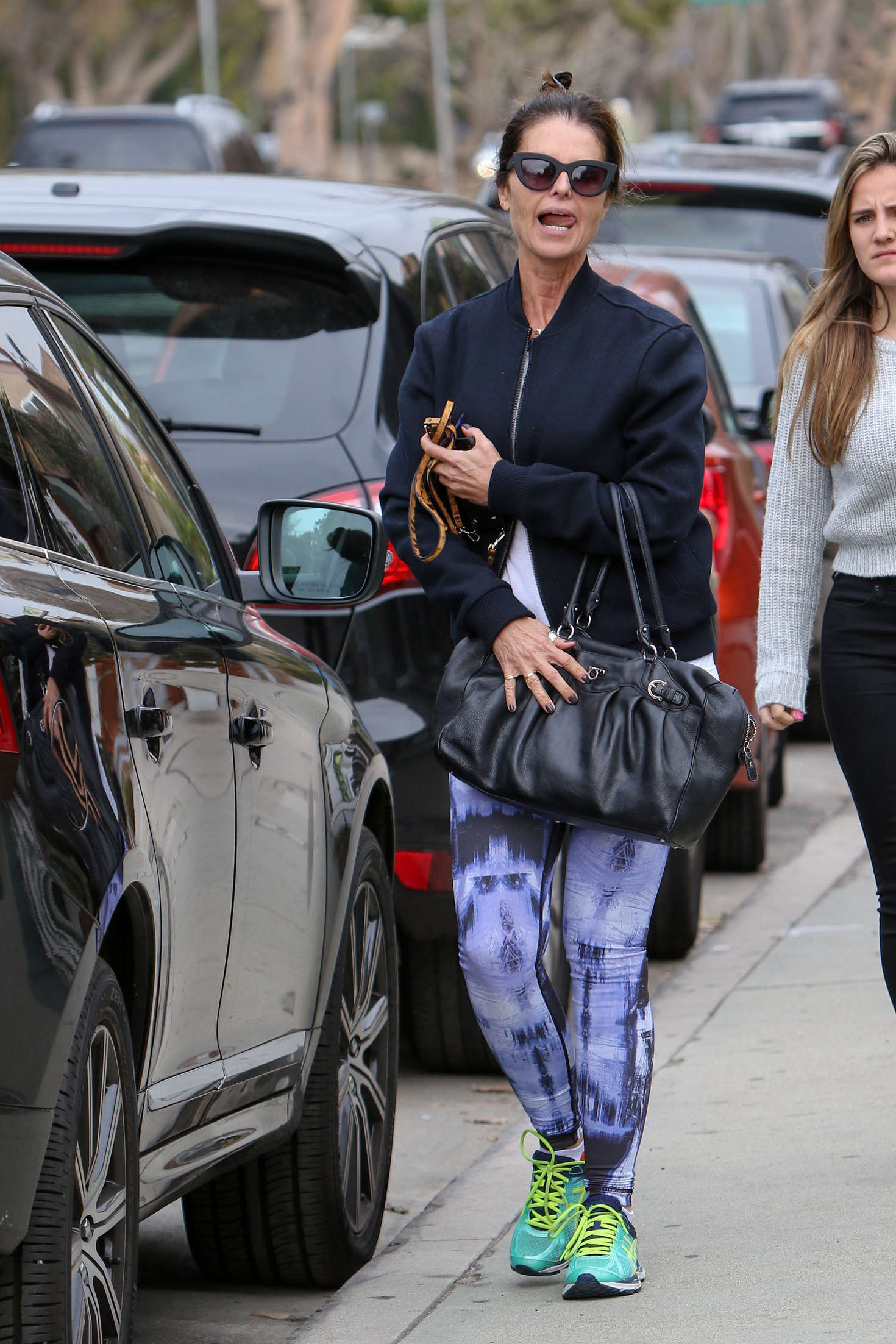 Maria Shriver in Tights go out in Brentwood