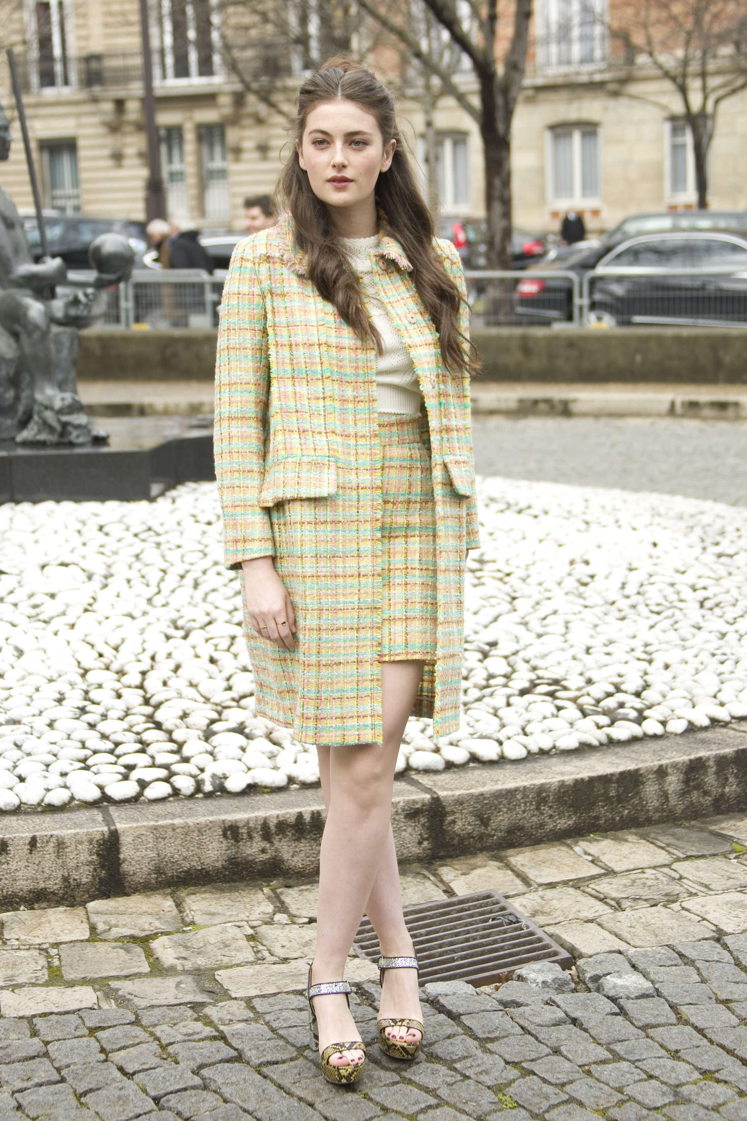 Millie Brady Arrives at Miu Miu Fashion Show in Paris