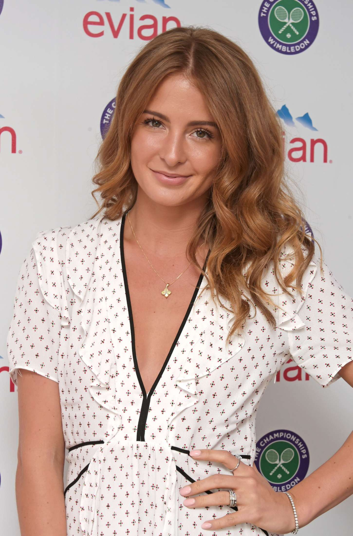 Millie Mackintosh Evian Live young suite on the opening day of Wimbledon in London