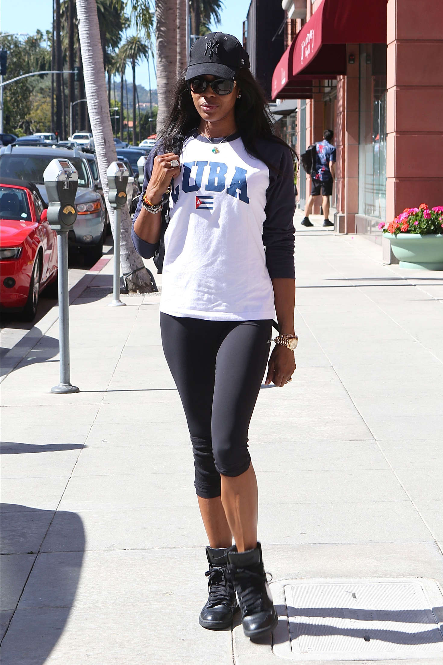 Naomi Campbell in Tight Leggings out in Santa Monica