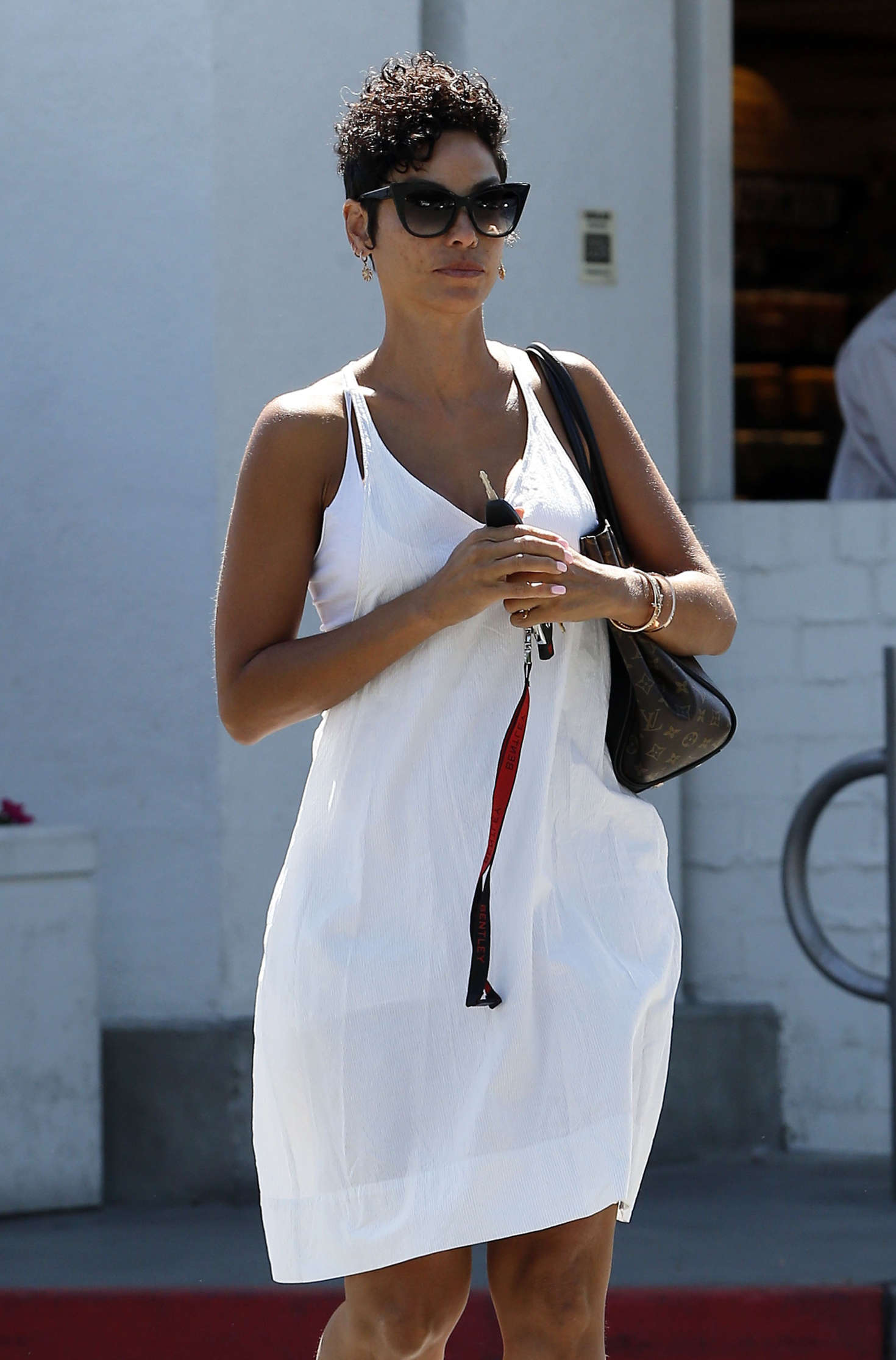 Nicole Murphy in White Dress Shopping at Bristol Farms in West Hollywood