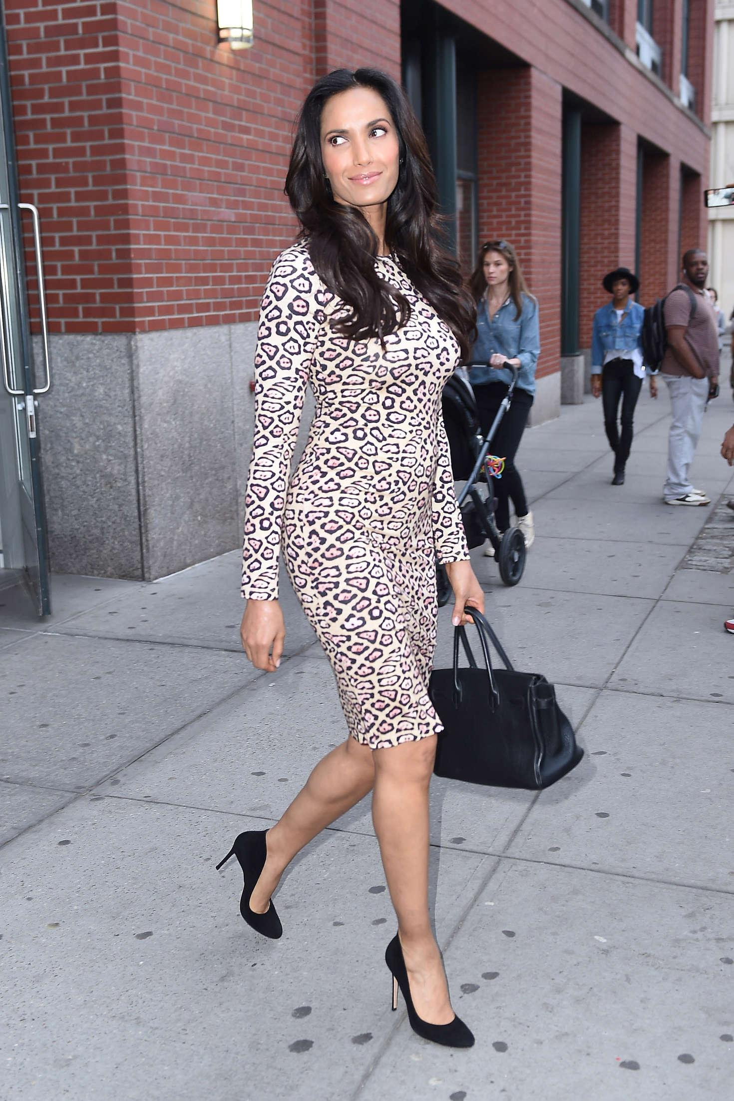 Padma Lakshmi in Tight Dress Leaving her apartment in New York