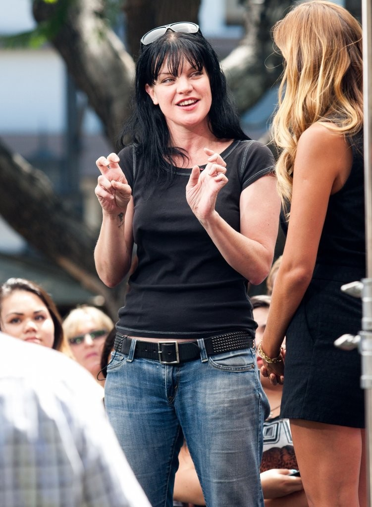Pauley Perrette on the set of Extra in Los Angeles