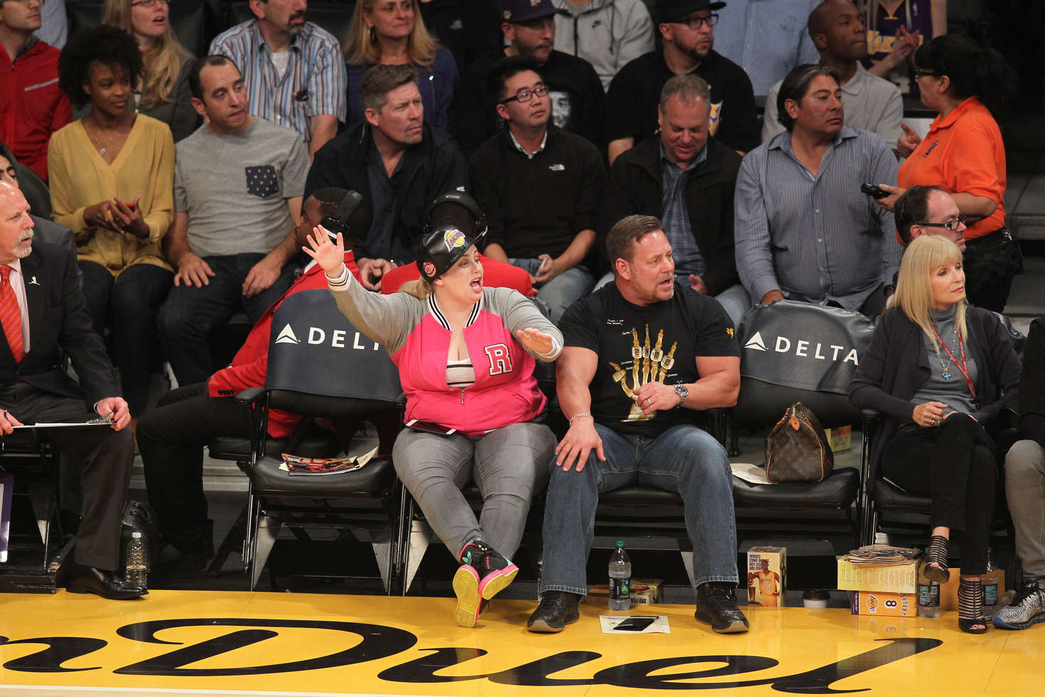 Rebel Wilson at Lakers games in Los Angeles