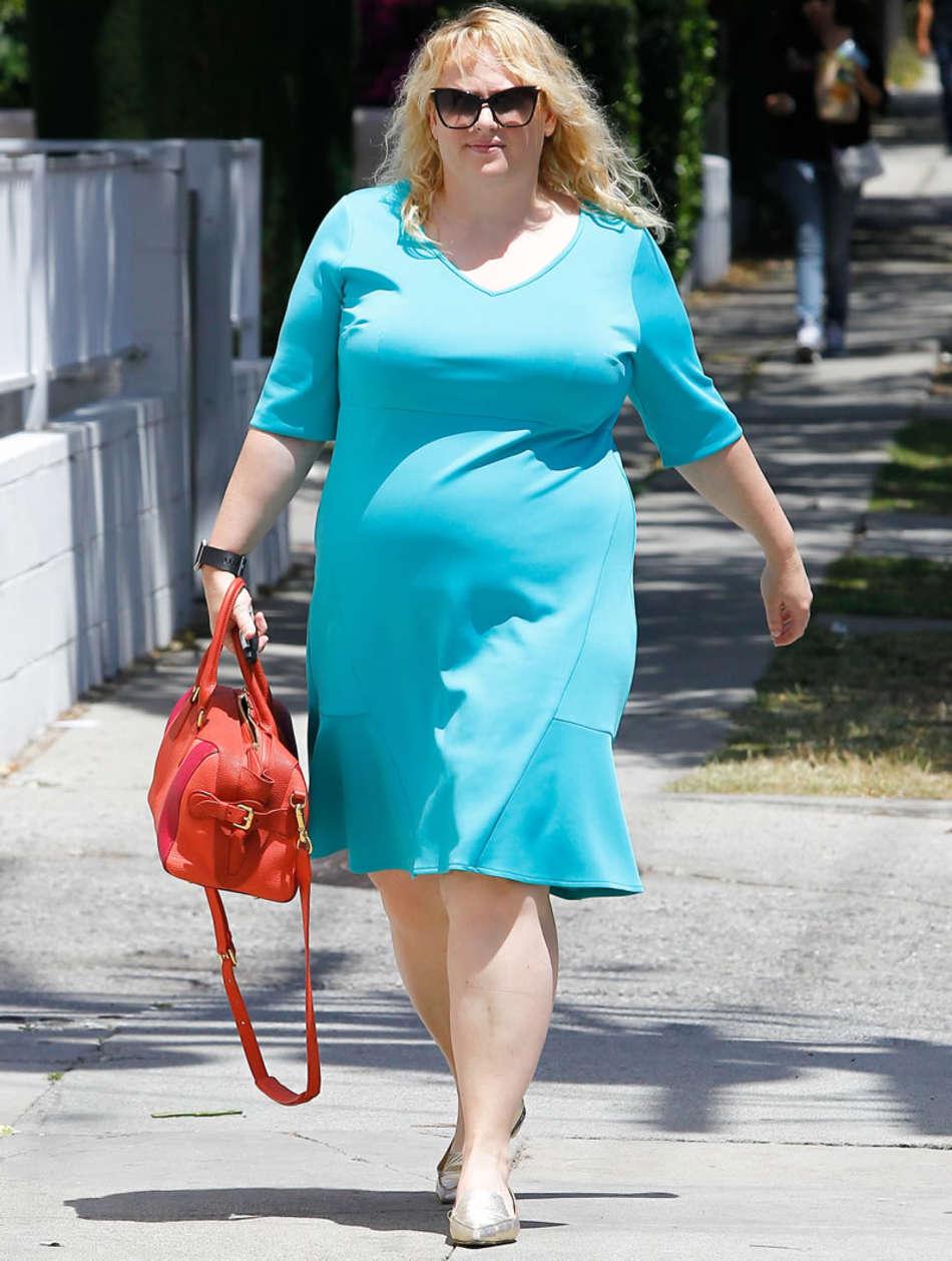 Rebel Wilson in Blue Dress arrives to a studio in Los Angeles