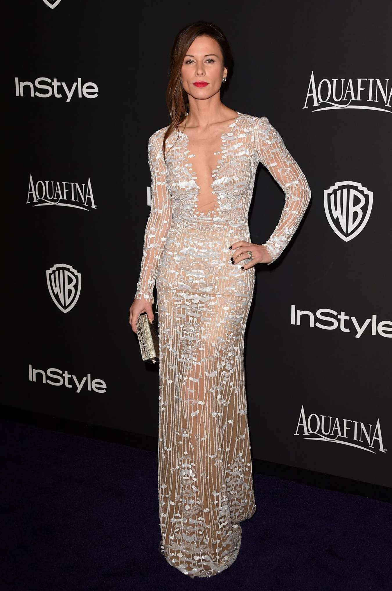 Rhona Mitra InStyle And Warner Bros Golden Globes Party in Beverly Hills