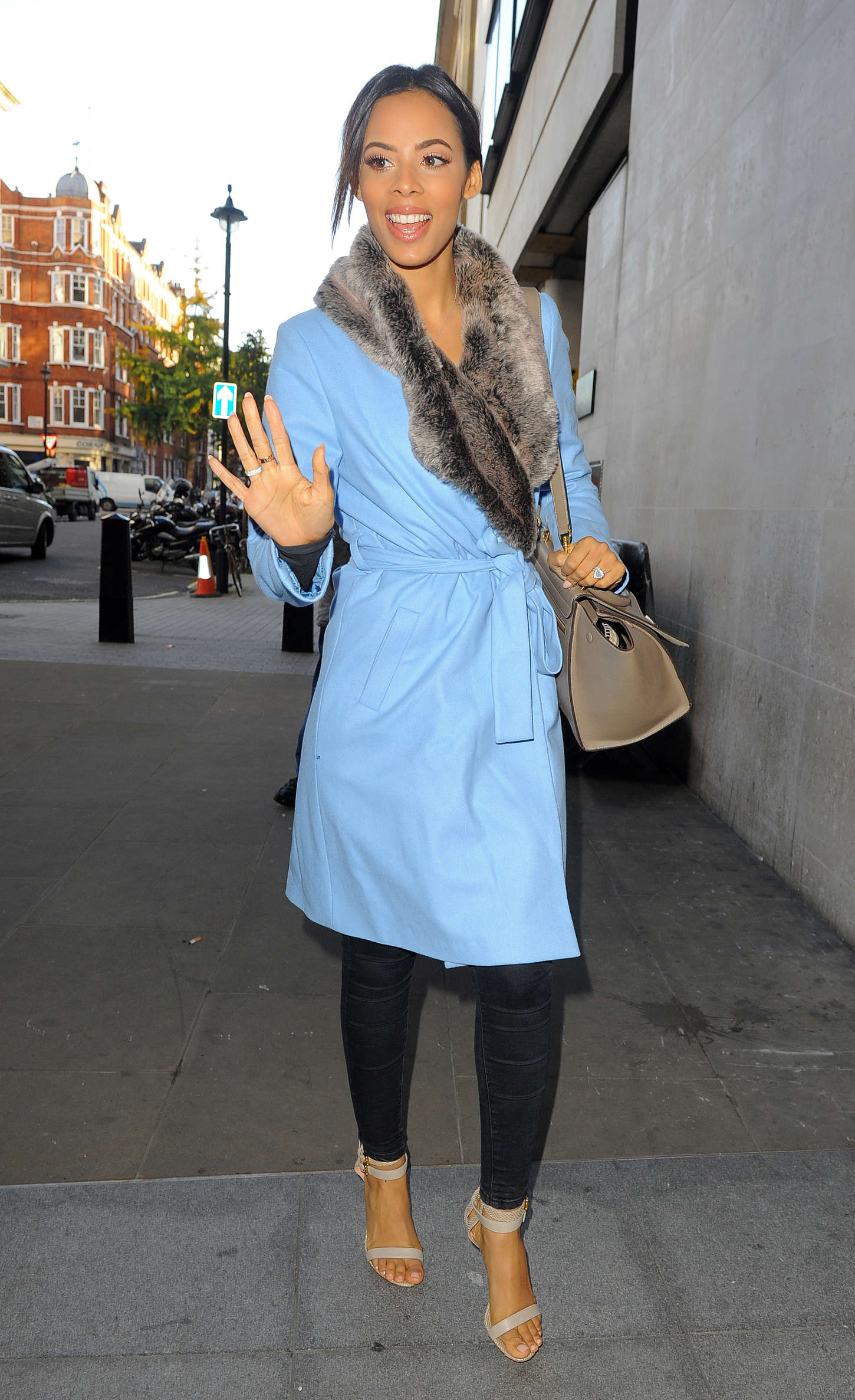 Rochelle Humes Arriving at BBC Radio in London