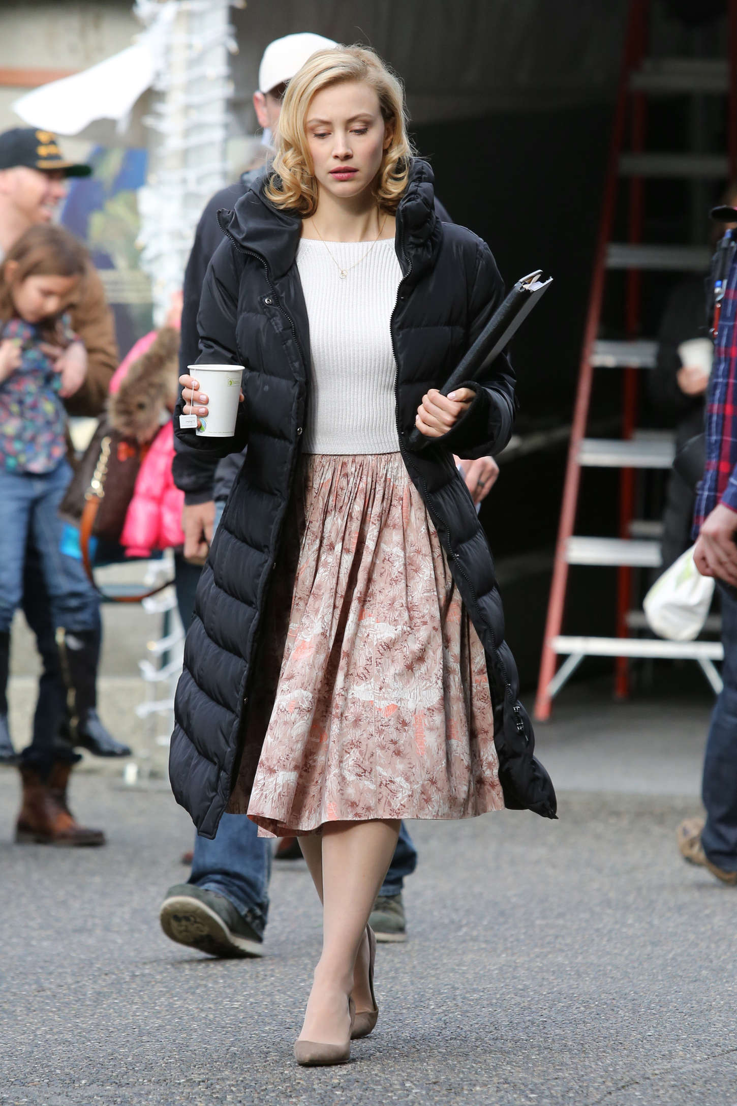 Sarah Gadon on set The Life of Louis Drax