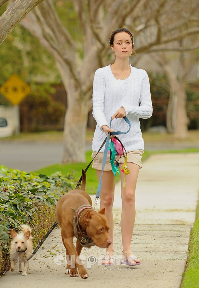 Summer Glau Walking her dogs in Studio City