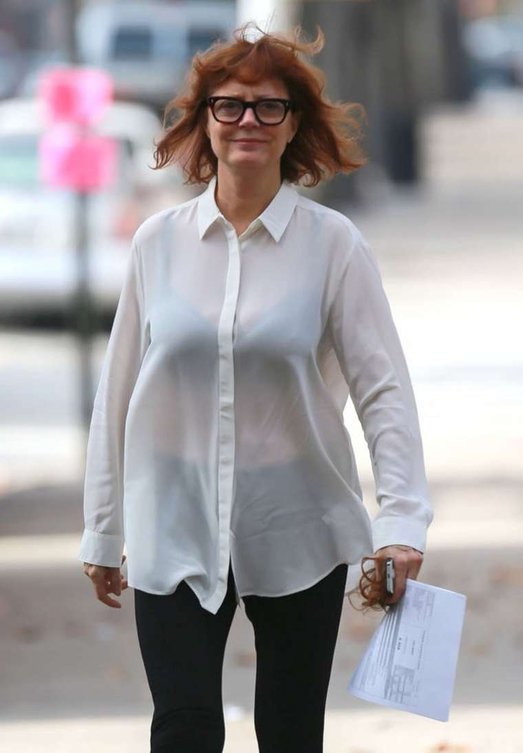 Susan Sarandon on the set of Three Generations in New York City
