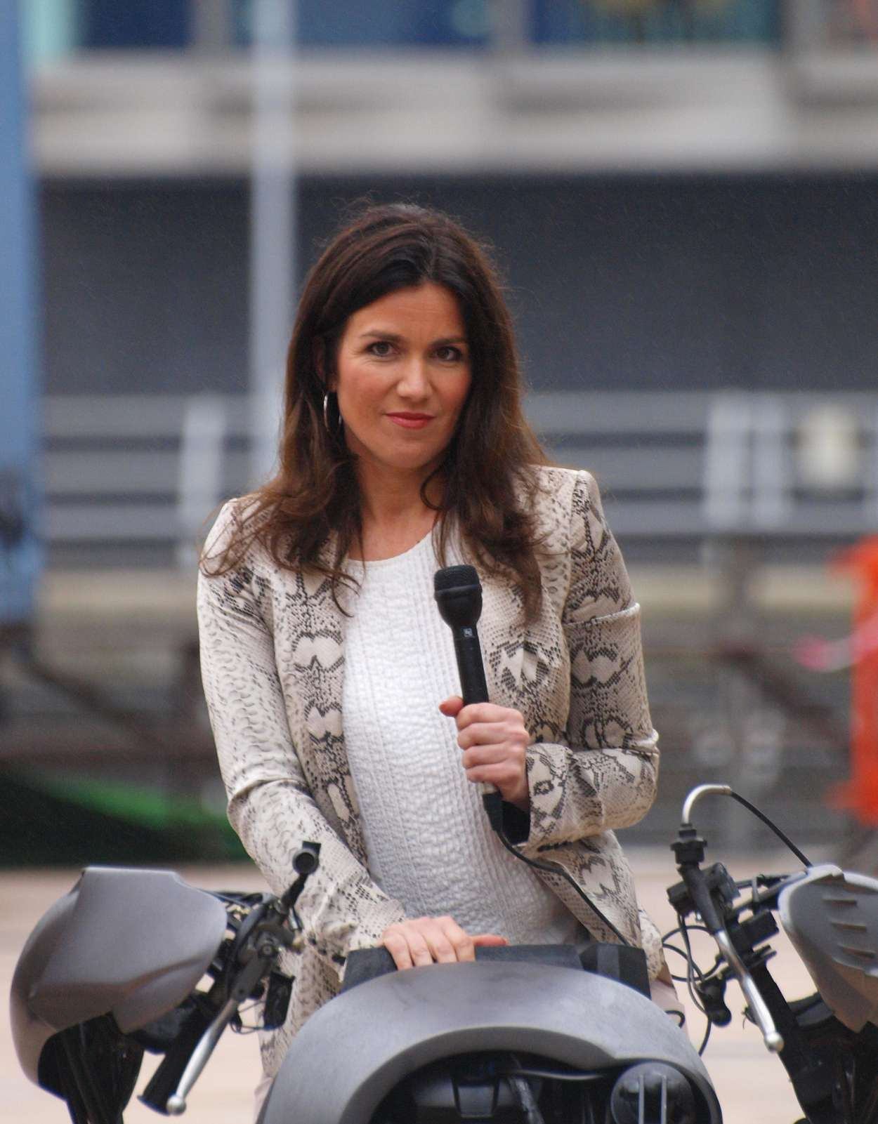 Susanna Reid Outside BBC Studios Salford on Bat-motorcycle