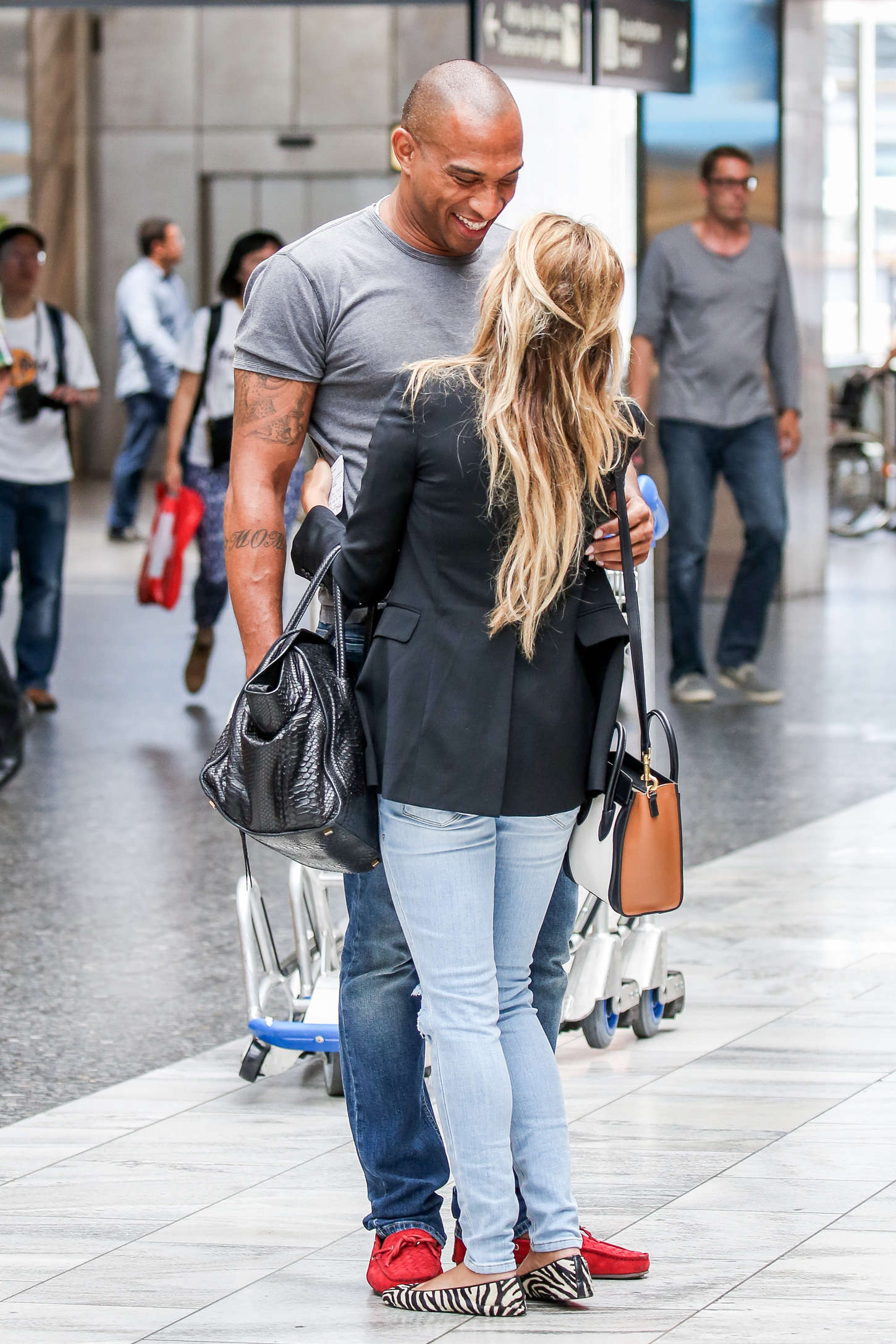 Sylvie Van Der Vaart With Boyfriend Momo at Airport in Zurich