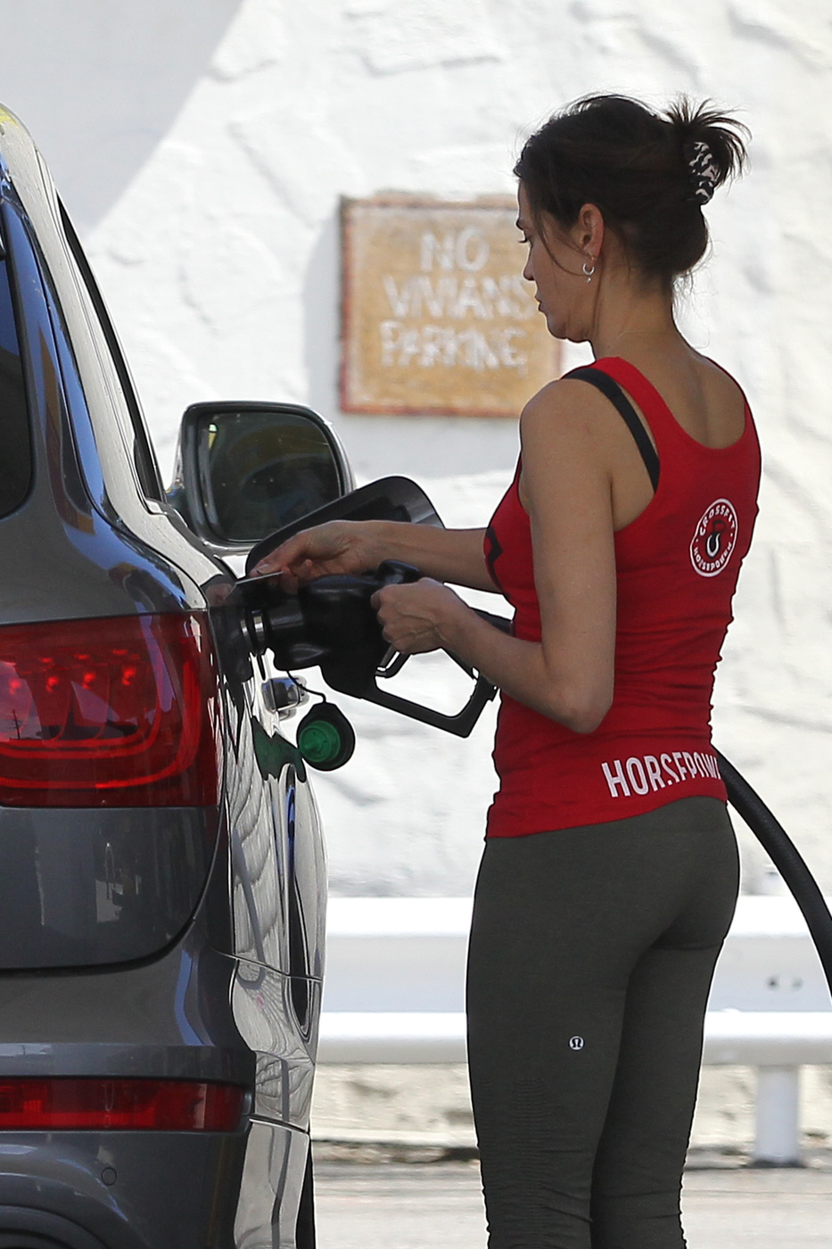 Teri Hatcher in leggings at Gas Station in Los Angeles