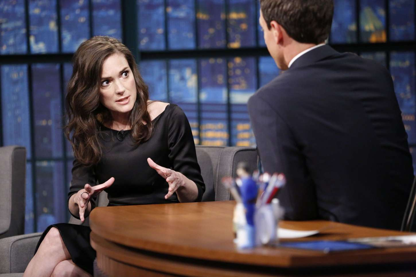 Winona Ryder Late Night with Seth Meyers in New York