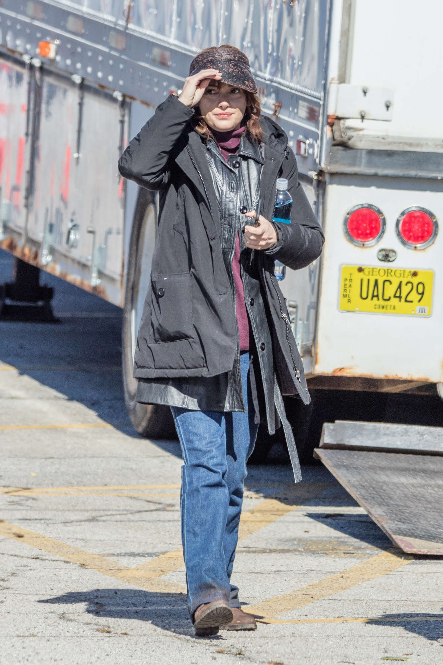 Winona Ryder on the set of Stranger Things in Indiana