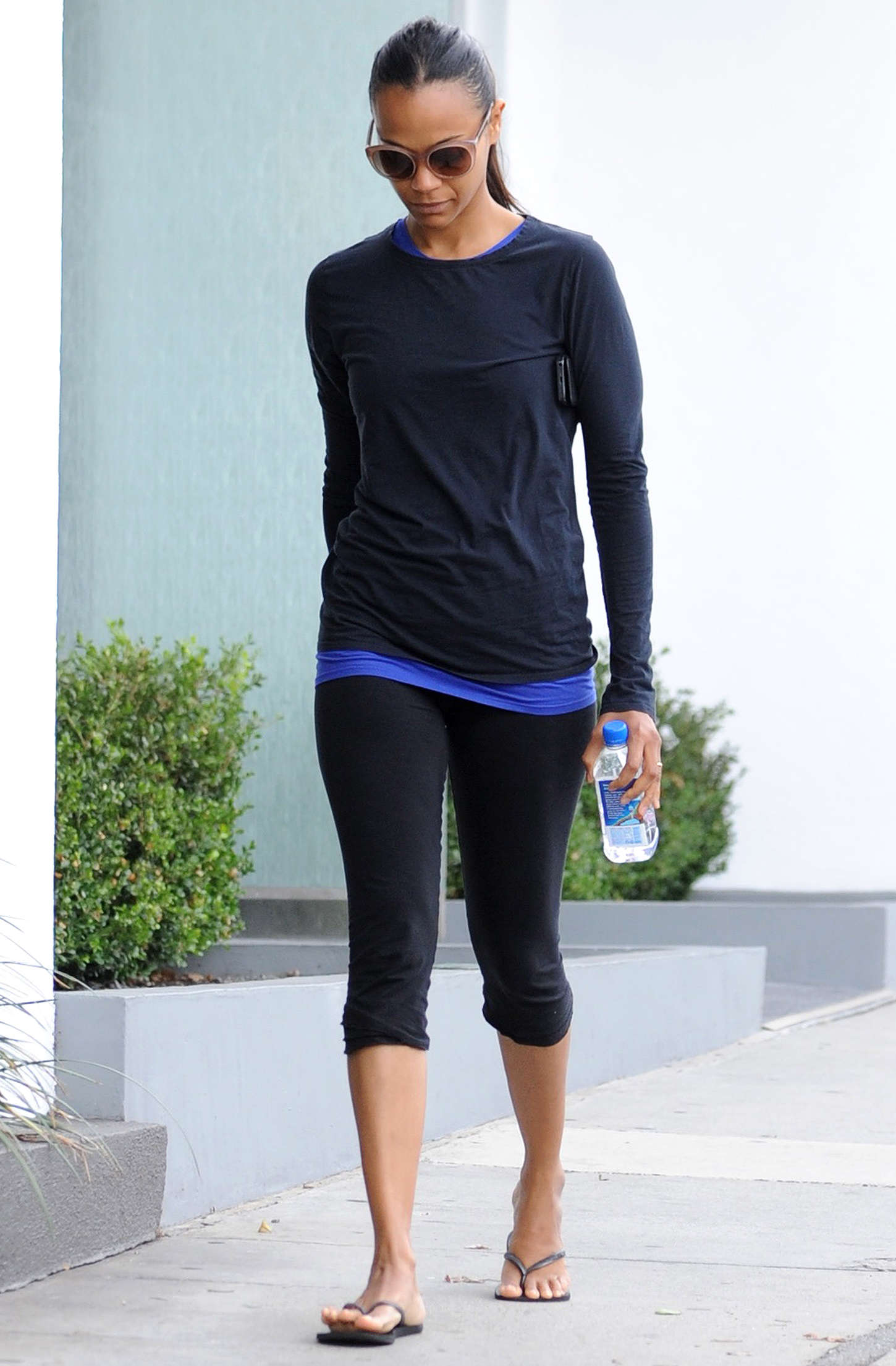 Zoe Saldana Leaving a gym in West Hollywood