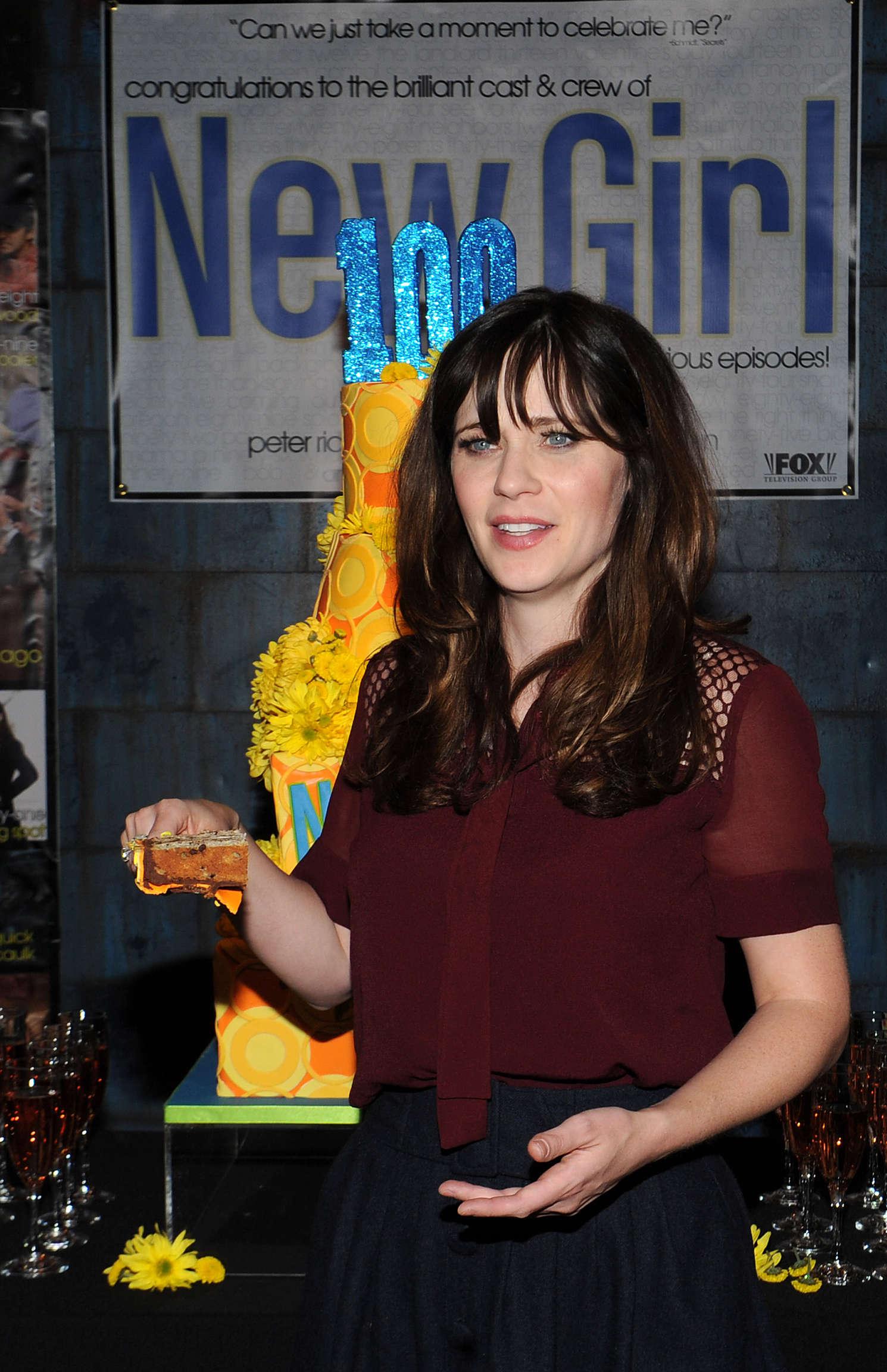 Zooey Deschanel and Hannah Simone FOXs New Girl Episode Cake Cutting in Culver City