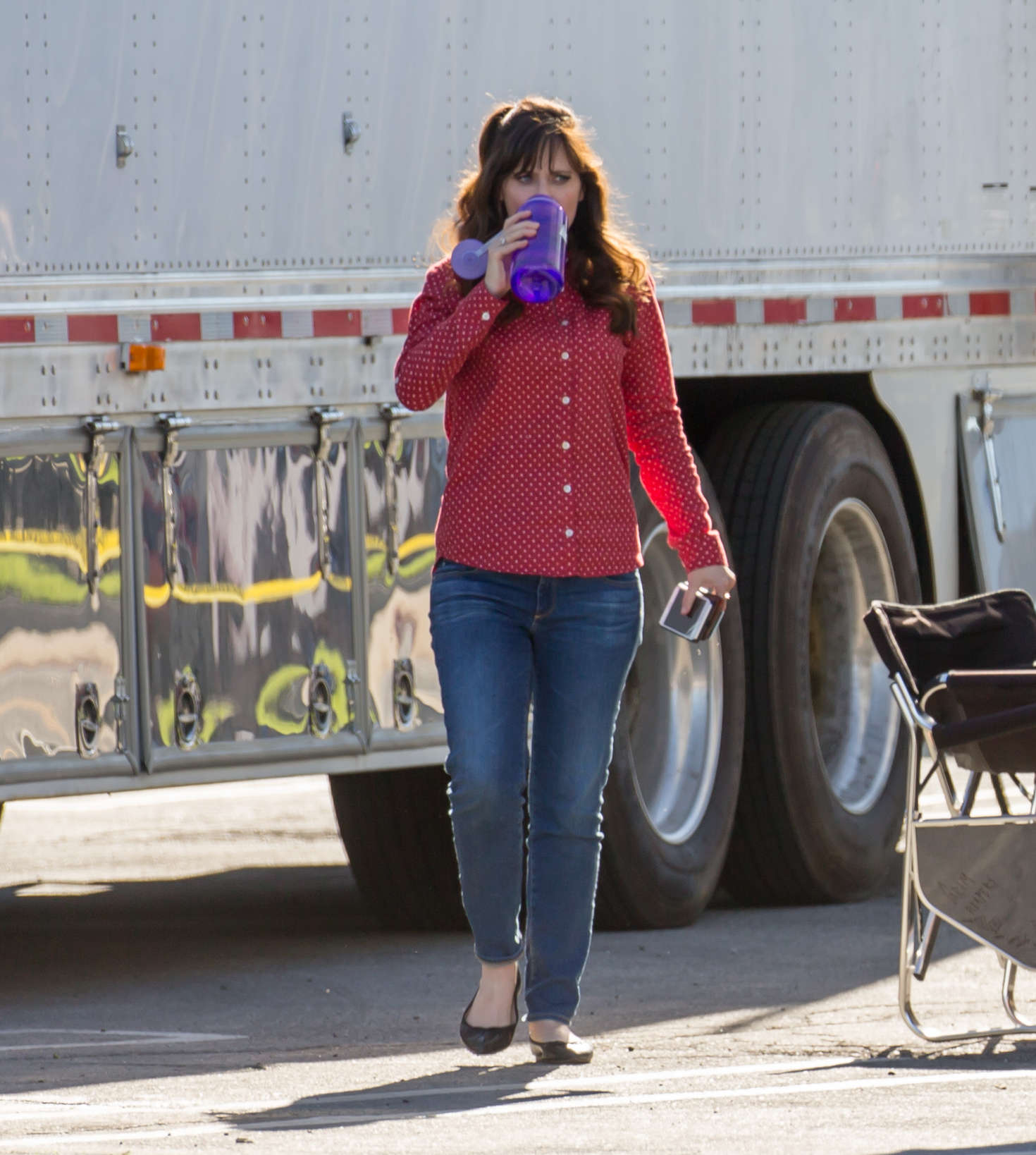 Zooey Deschanel on the set of New Girl in Los Angeles